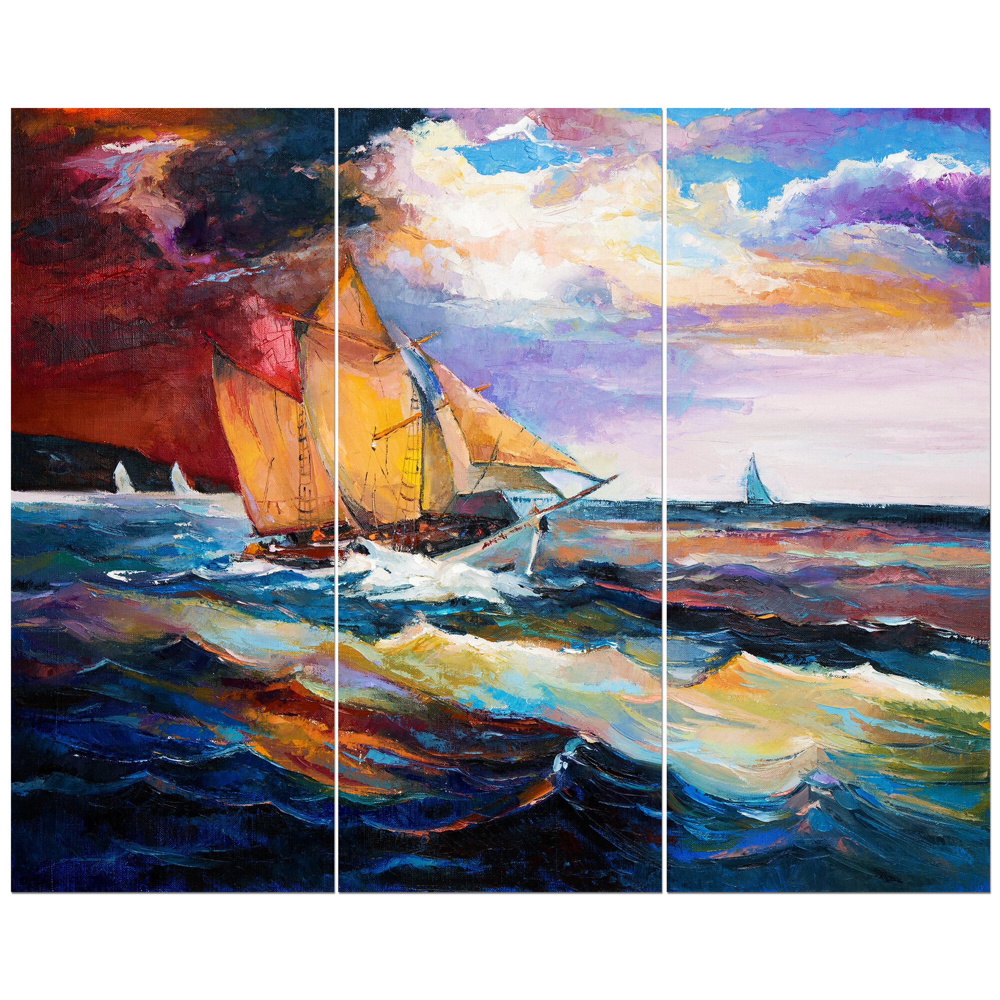 SHIP IN STORM STORMY SEA WAVES SAILBOAT SEASCAPE PAINTING ART REAL CANVAS PRINT