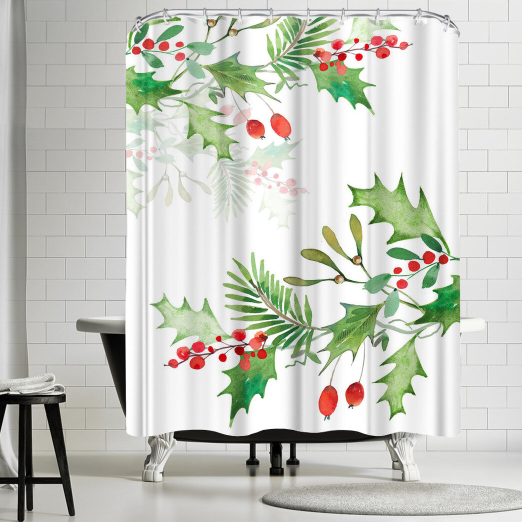 Details About East Urban Home Victoria Nelson Christmas Berries Single Shower Curtain