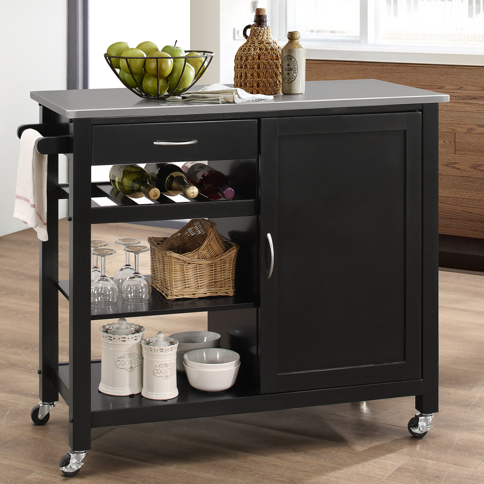 Details about Latitude Run Monongah Kitchen Cart with Stainless Steel Top
