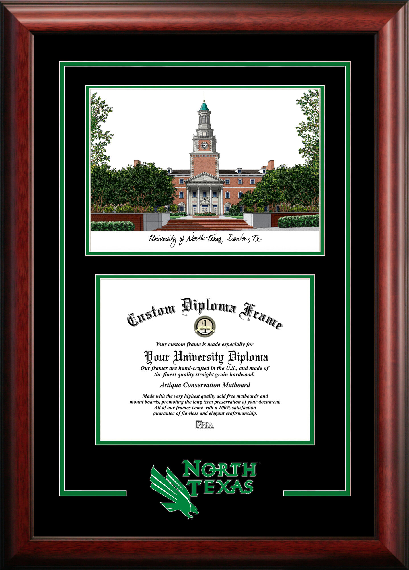 North Texas Mean Green 28cm X 36cm Spirit Graduate Diploma Frame ...