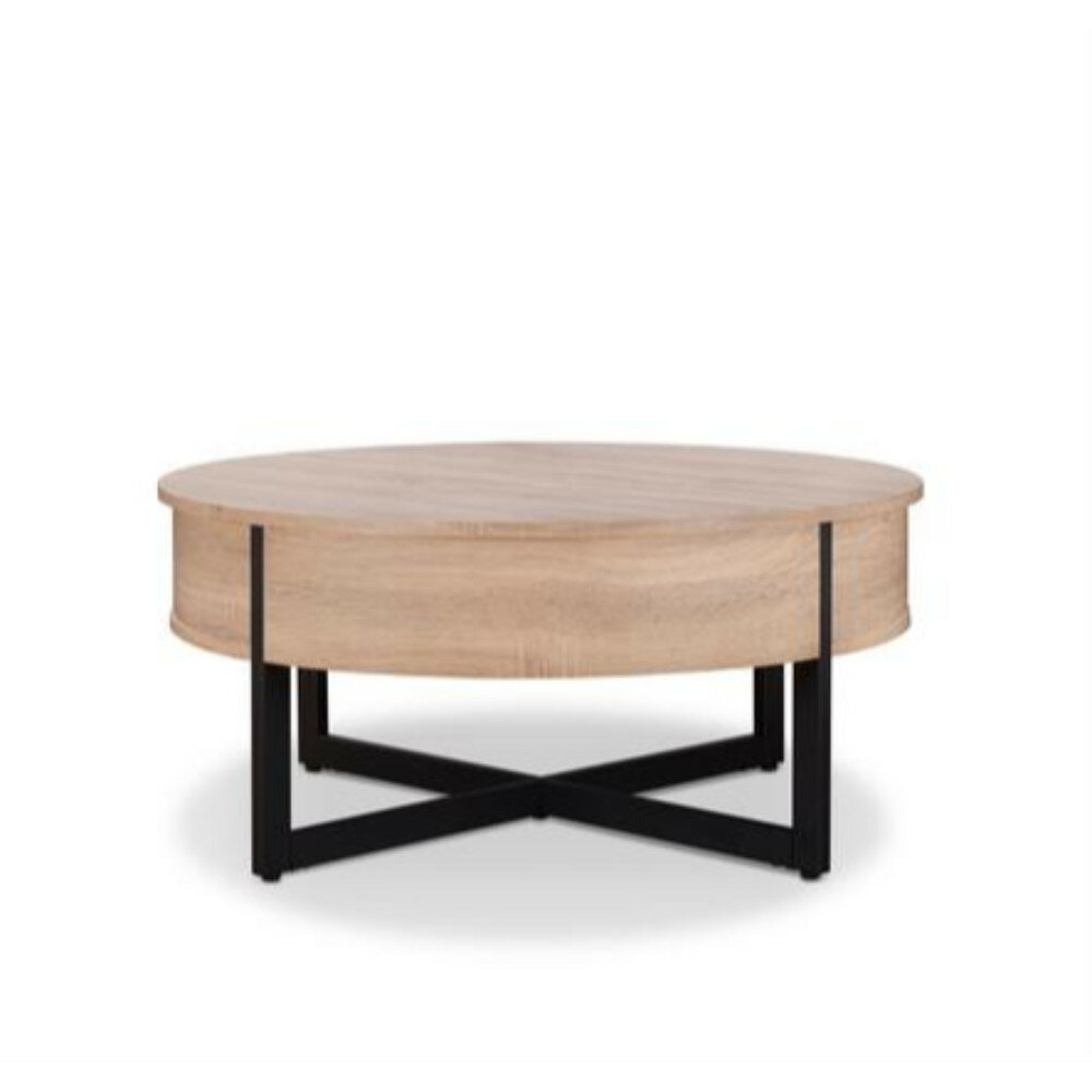 Details About Union Rustic Haygarden Round Wood And Metal Coffee Table