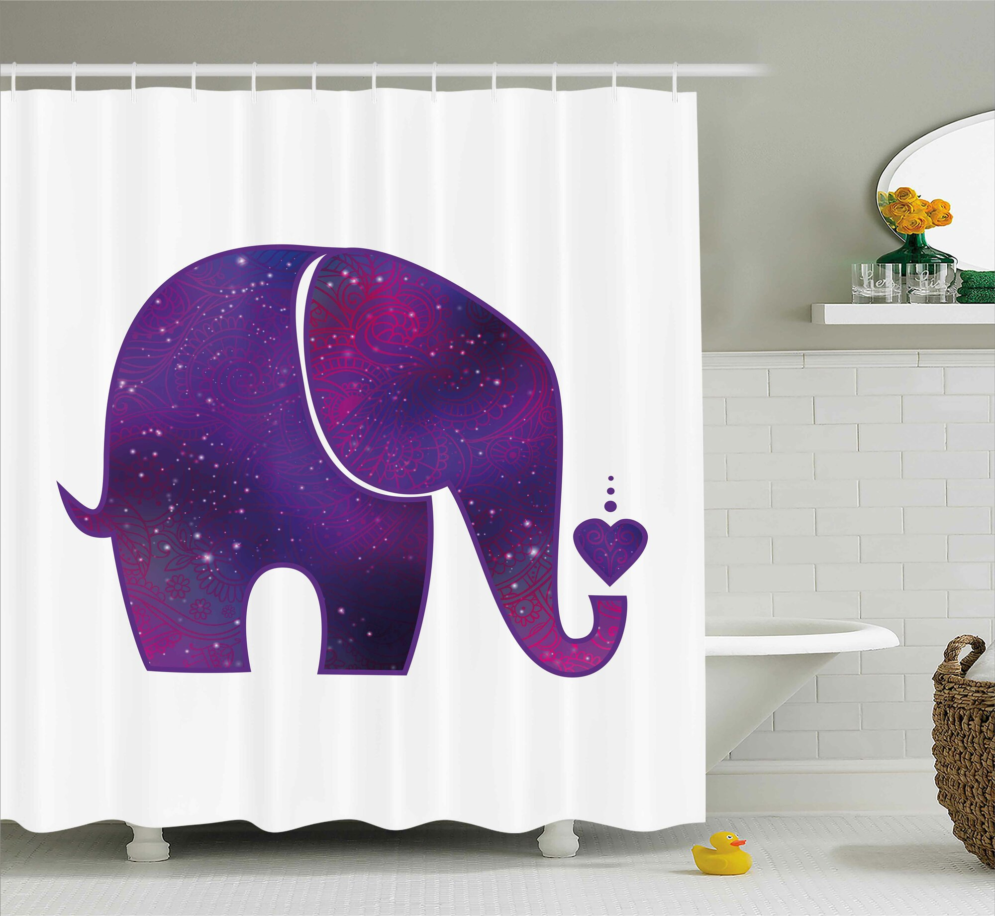 Details About Ebern Designs Herta Elephant Indian Hearts Shower Curtain