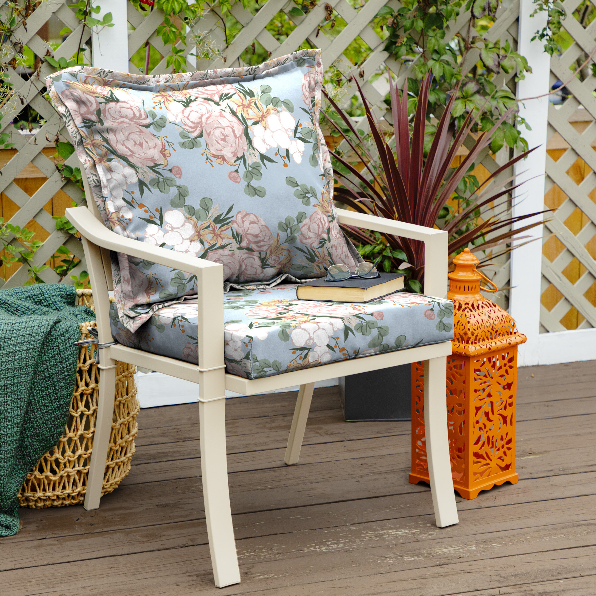 Details about Ophelia & Co. Giovanny Floral Traditional Outdoor Dining  Chair Cushion