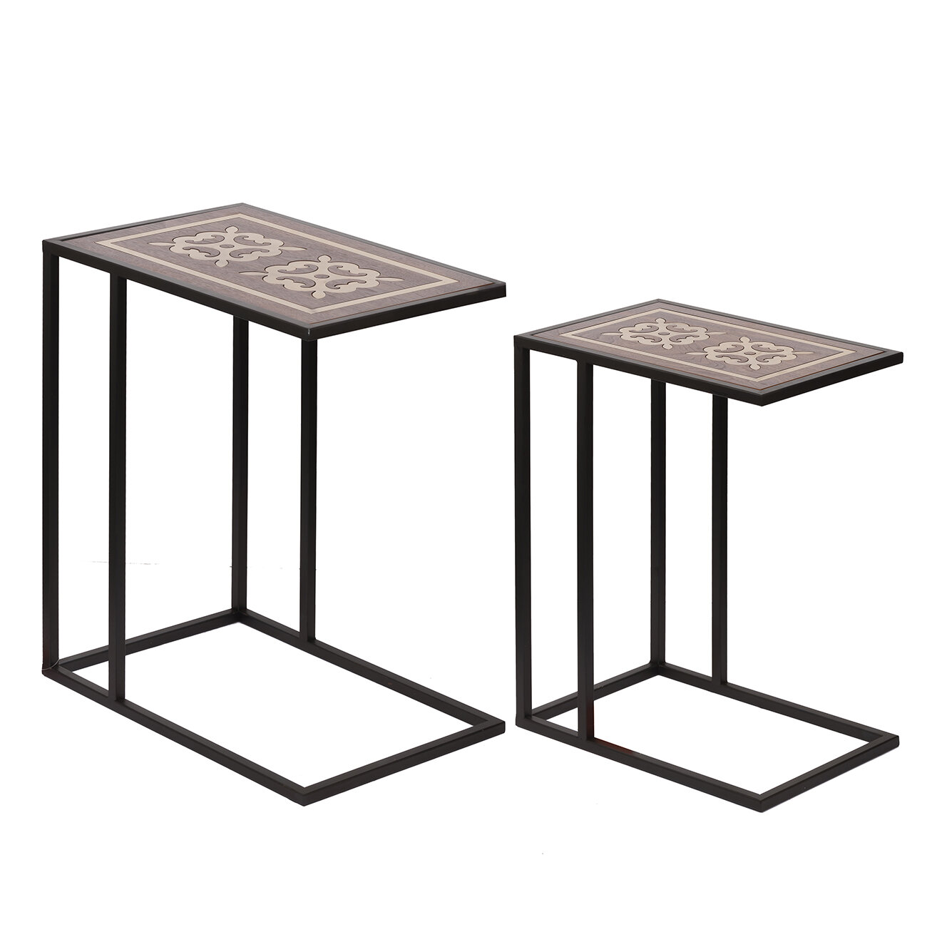 low priced b6232 bf18a Details about Bloomsbury Market Mcgoldrick Raj Brass Inlaid 2 Piece Nesting  Tables