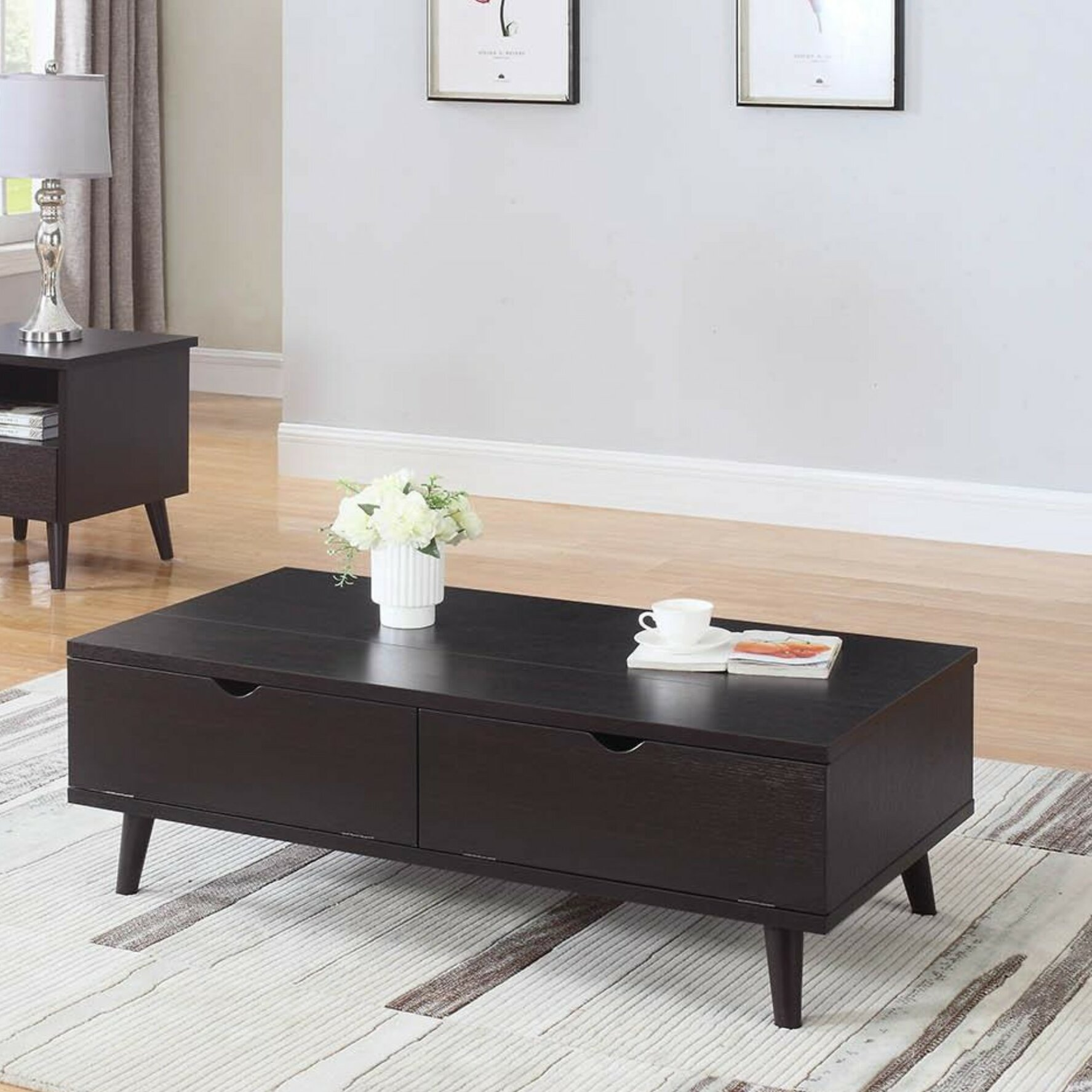 George Oliver Bueno Modern Lift Top Wooden Coffee Table With