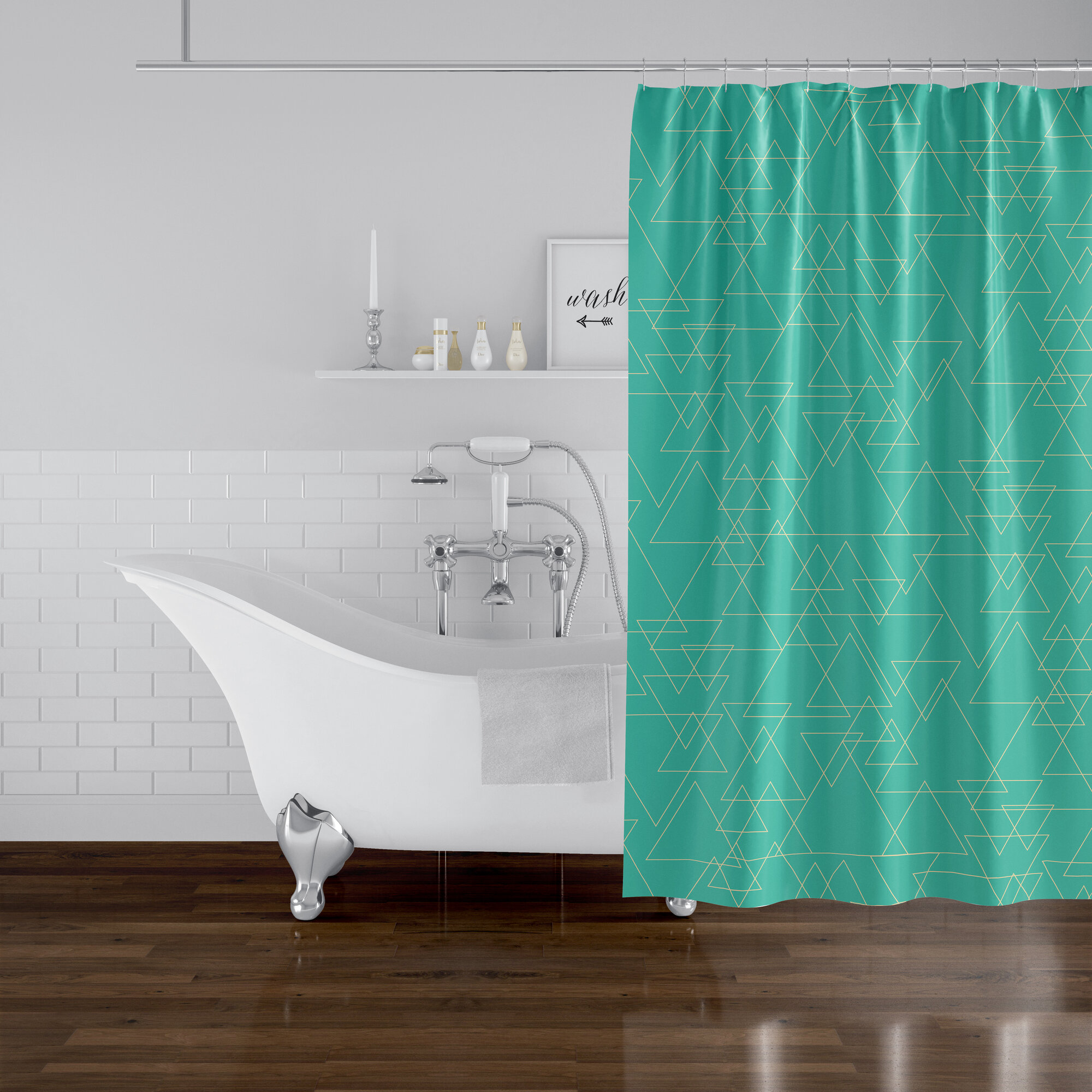 Ivy Bronx Ismay Intersecting Triangles Shower Curtain