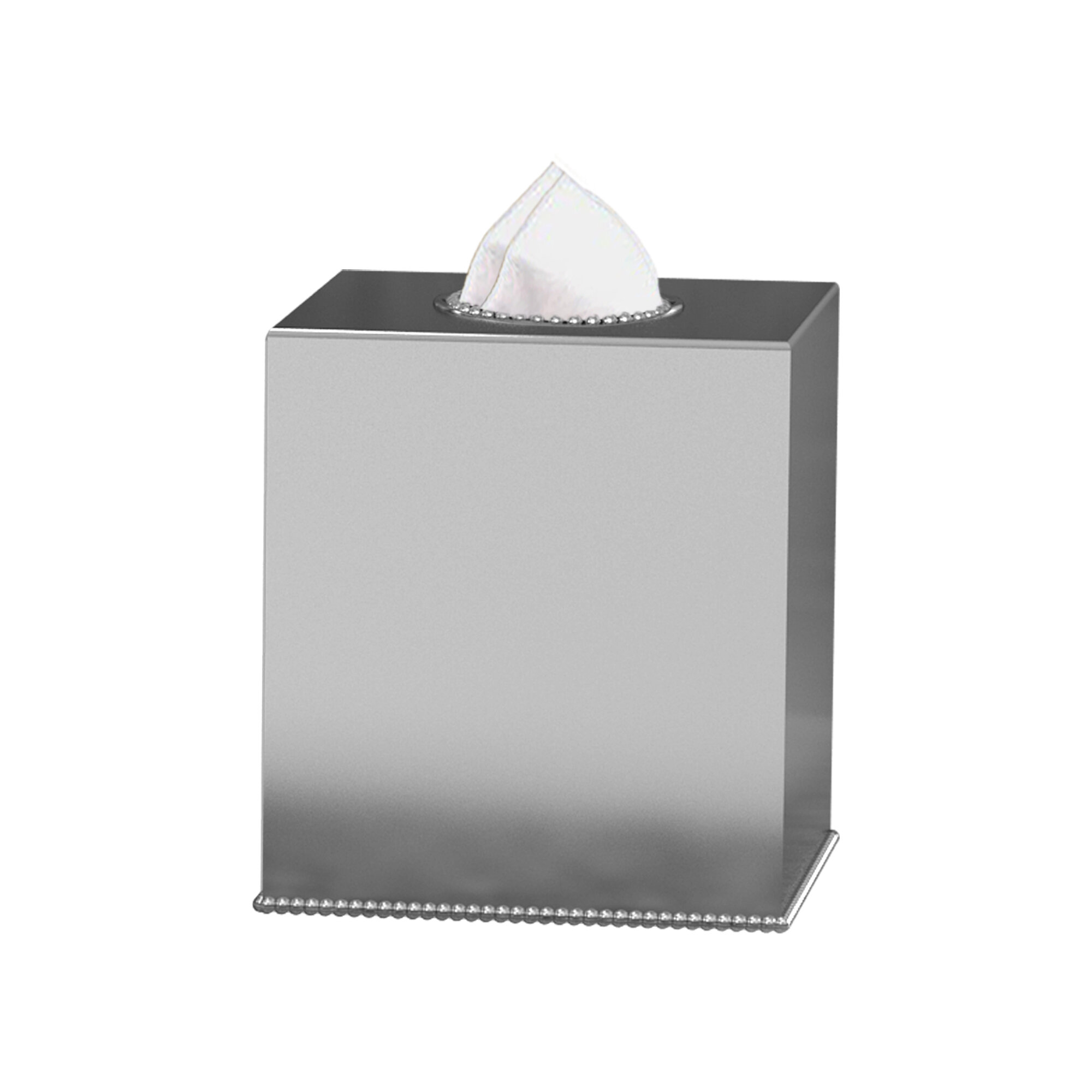 Steeltek Pewter Veil Boutique Tissue Box Cover Brushed Nickel Look BS-1009 New