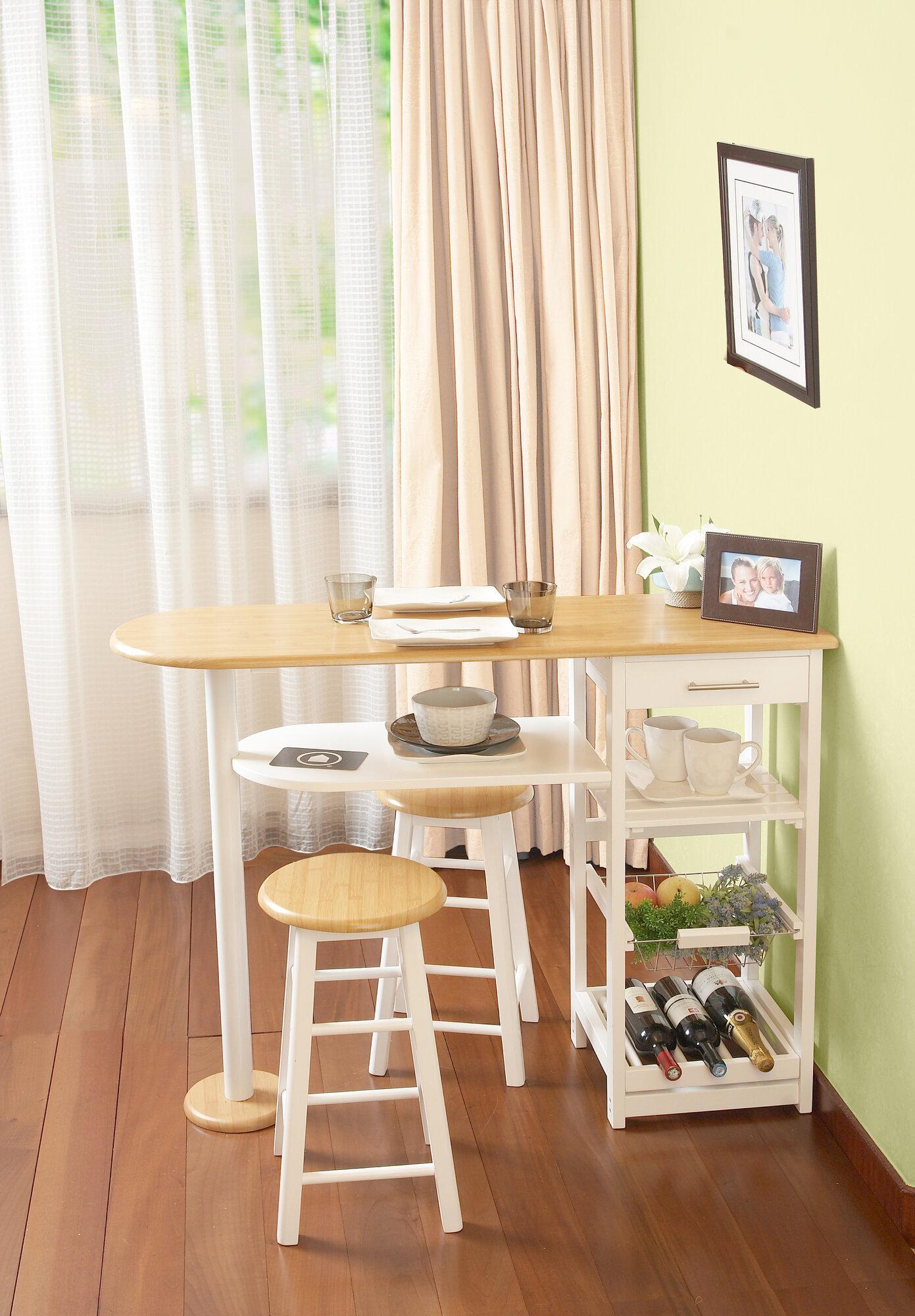 Details about Winston Porter Baptista Kitchen Island Bar Set with Wine  Storage