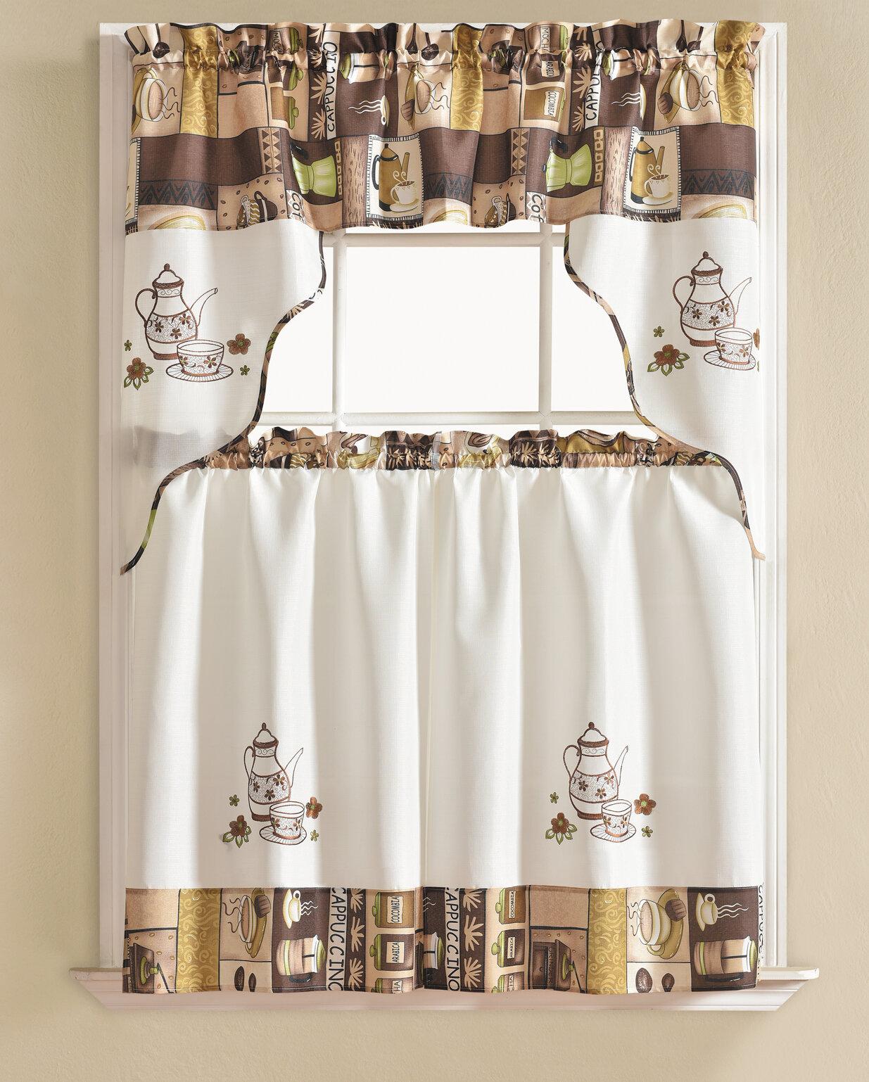 Details About Winston Porter Werner Coffee 3 Piece Kitchen Curtain Set