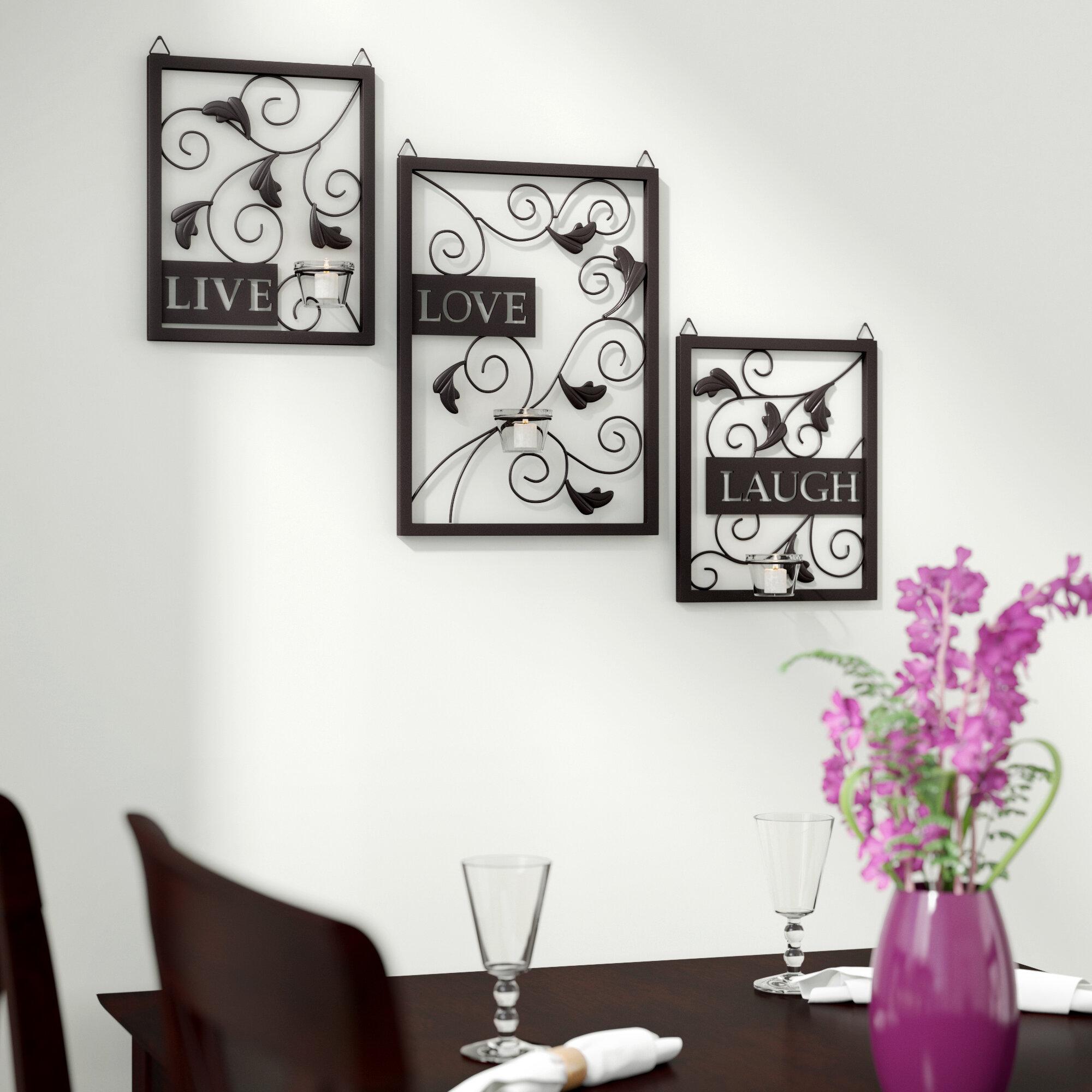 Details about winston porter live love laugh 3 piece black wall décor set