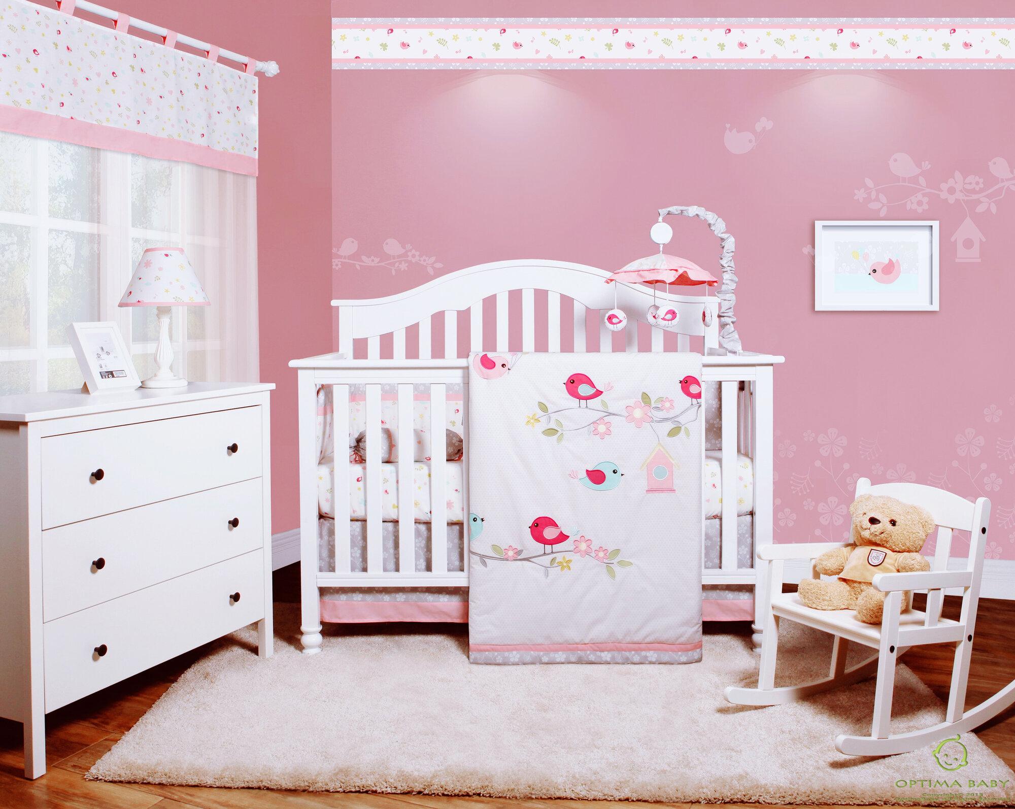 eb25f443370c2 Donaway Happy Enchanted Birds 6 Piece Baby Girl Nursery Crib Bedding Set.  OUR SKU  HRBE3638