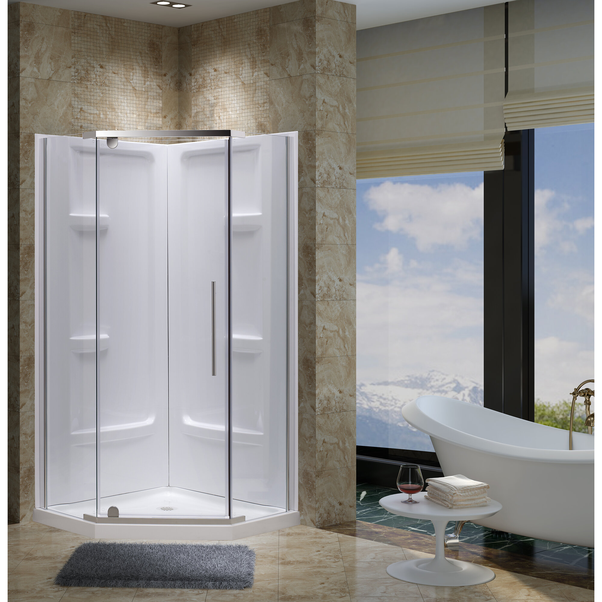 Details About Jade Bath Aspen 38 X 73 Neo Angle Pivot Shower Enclosure With Base Included