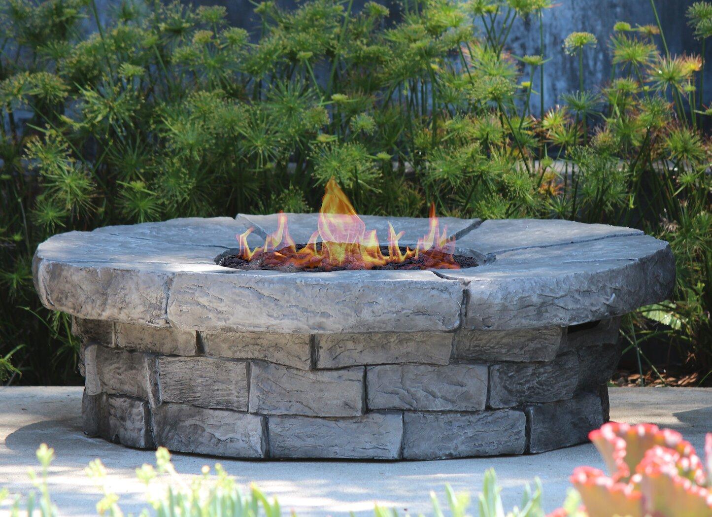 Details about Living Source International Aurora Concrete Propane/Natural  Gas Fire Pit Table