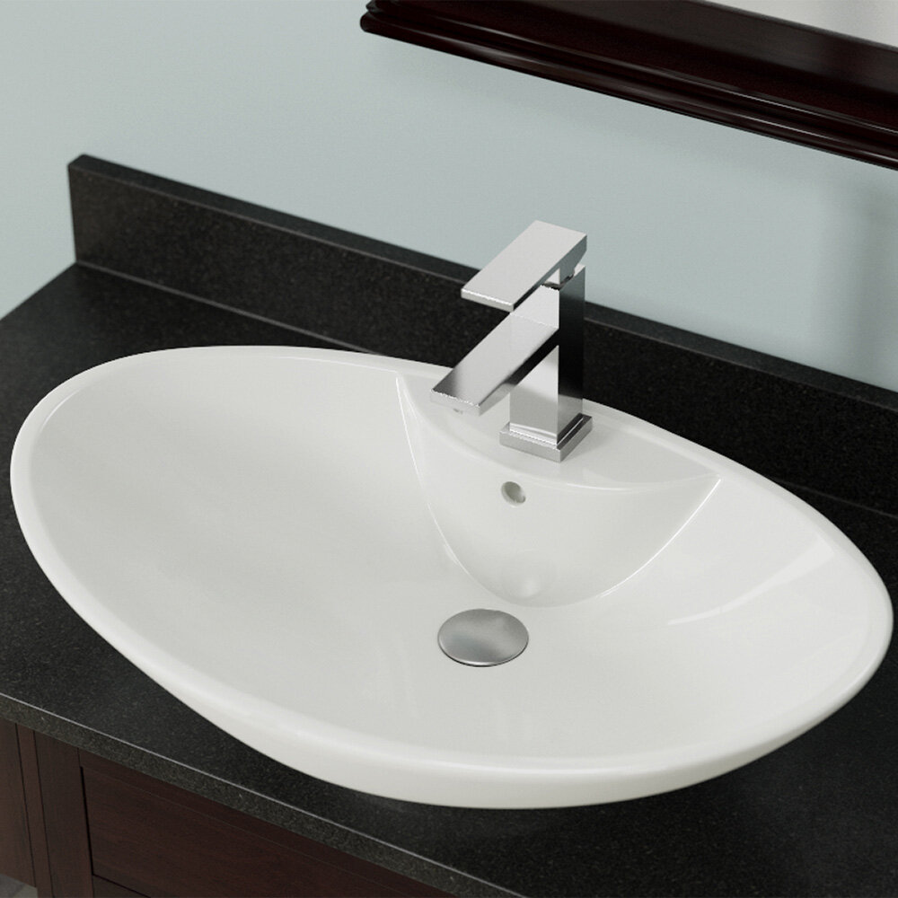 MR Direct Vitreous China Oval Vessel Bathroom Sink