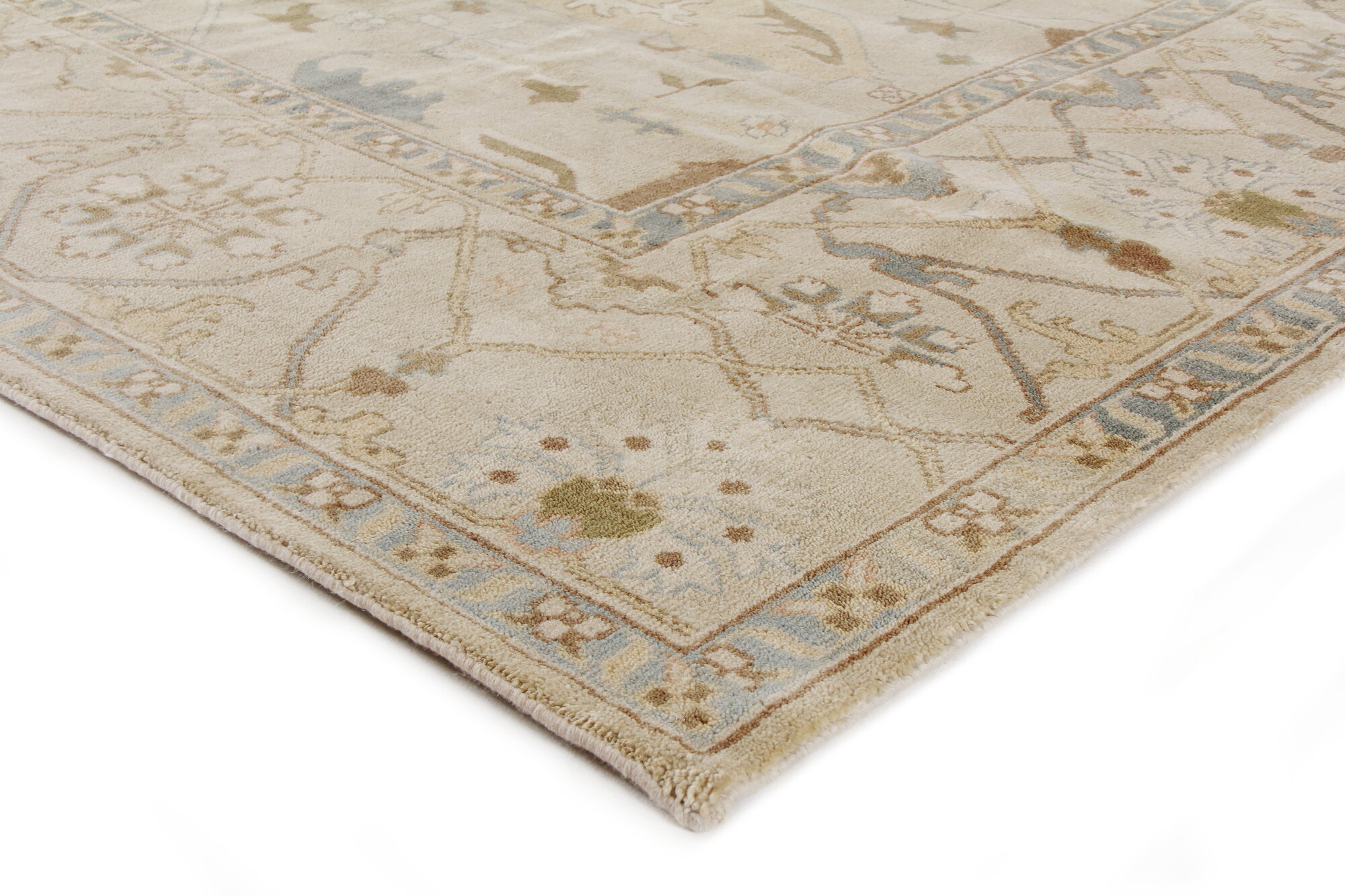 Exquisite Rugs Oushak Hand Knotted Wool Cream Area