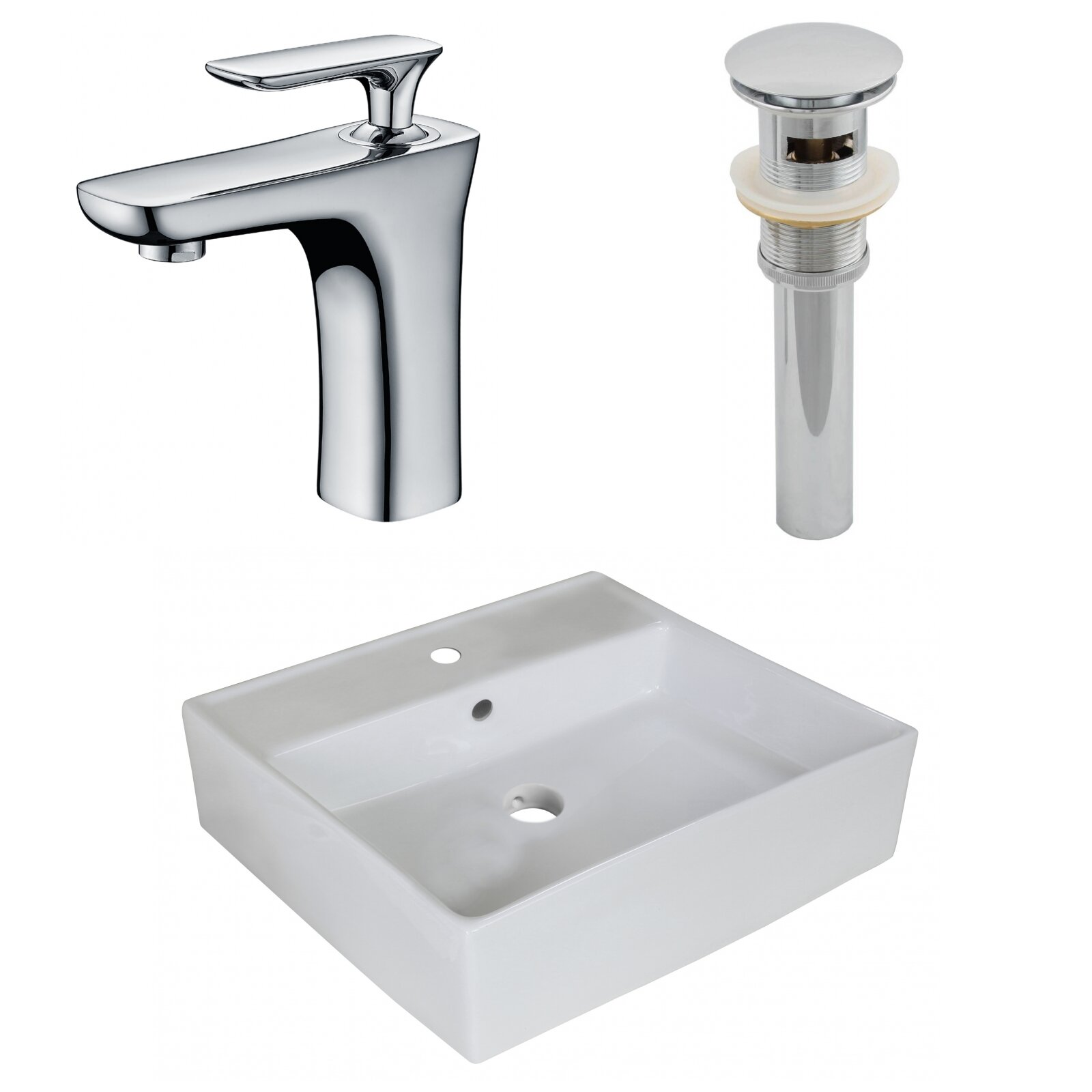 Details About Above Counter Ceramic Square Undermount Bathroom Sink With Faucet And Overflow