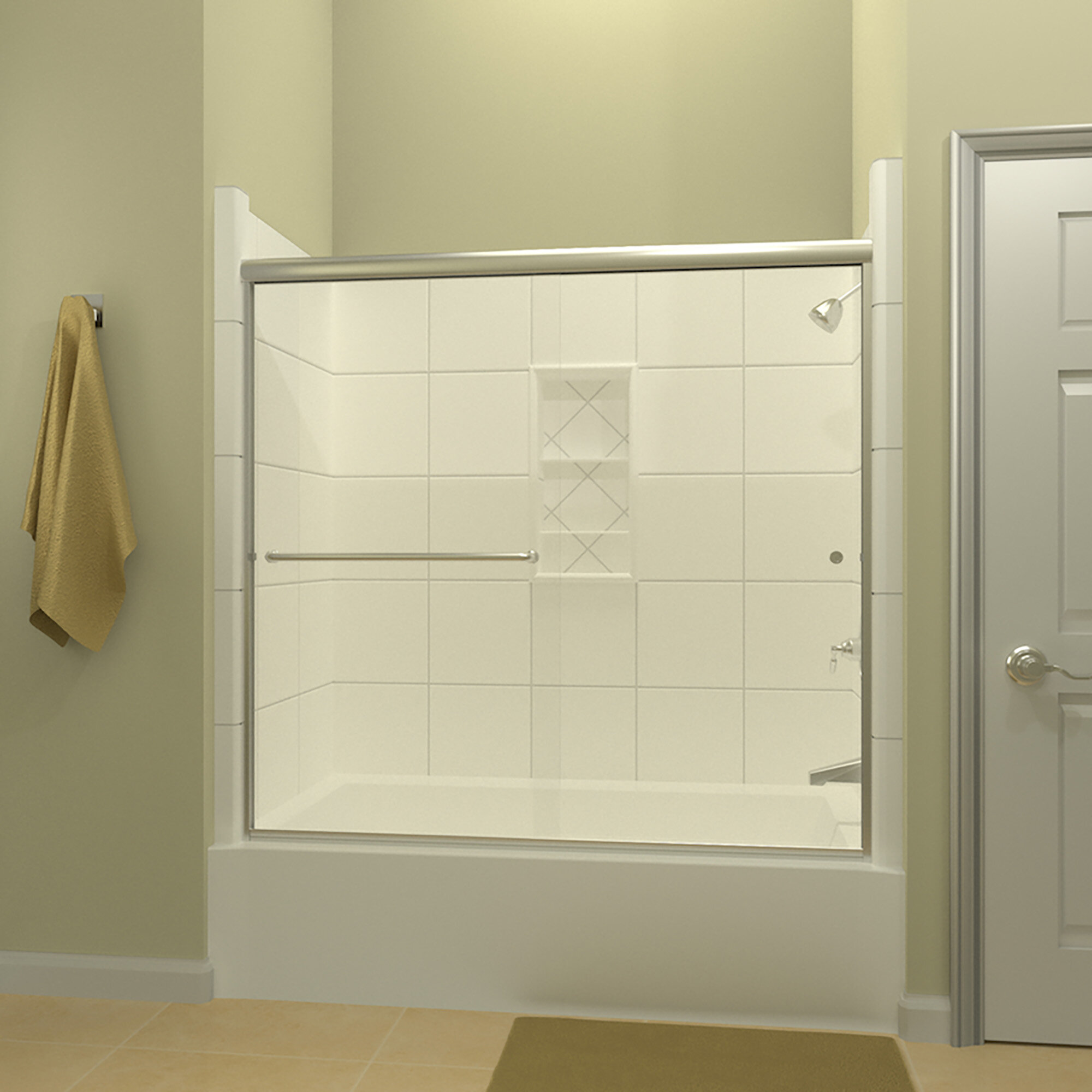 Details About Ete 72 X 57 38 Bypass Semi Frameless Tub Door Left Opening Brushed Nickel