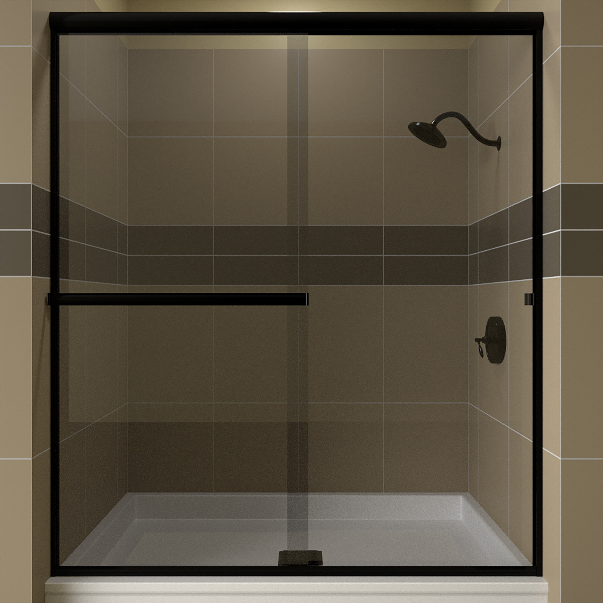 Details About Lese 60 X 70 38 Bypass Semi Frameless Shower Door Clear Glass Matte Black