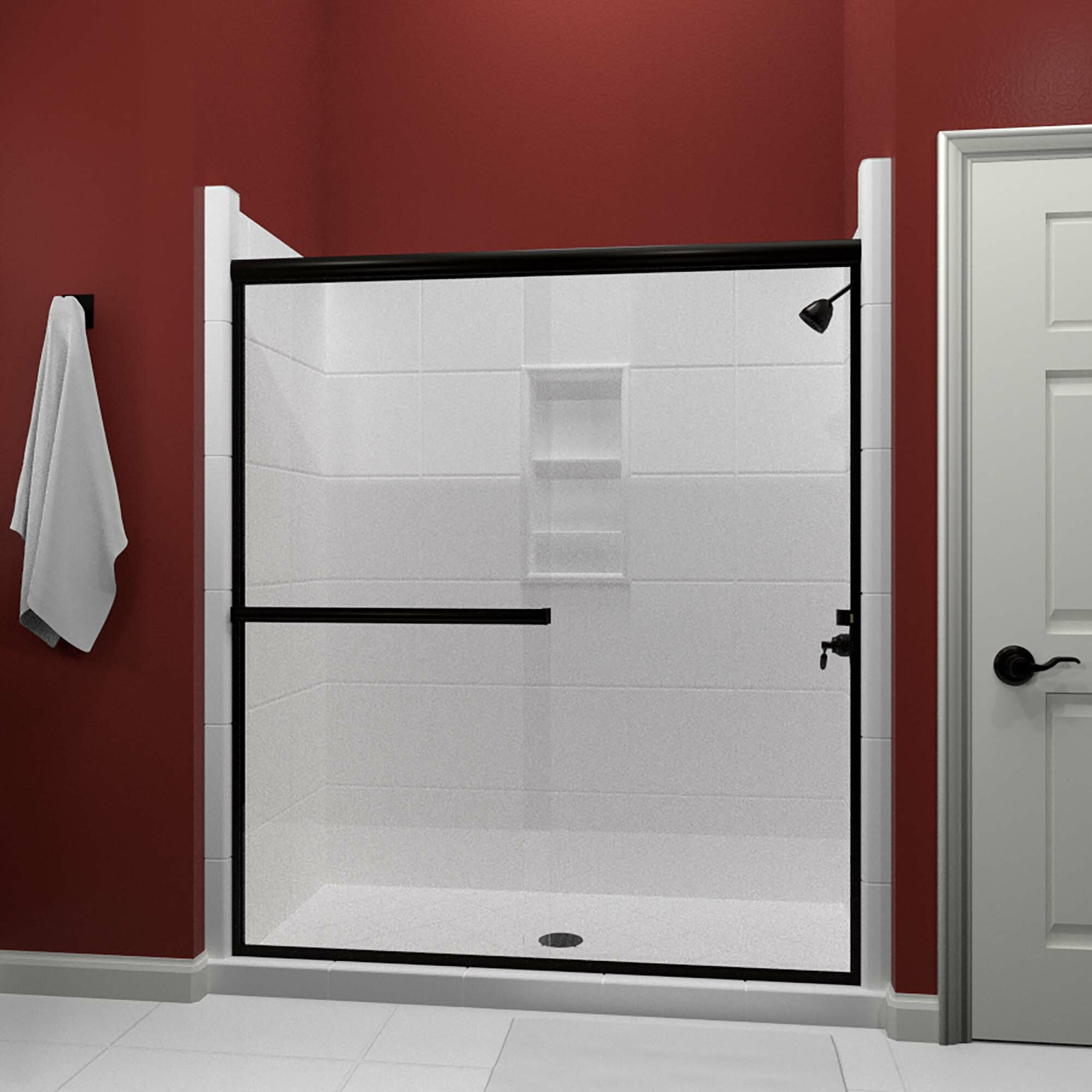 Details About Lese 57 Wx65 38 H Bypass Semi Frameless Shower Door Anodized Oil Rubbed Bronze