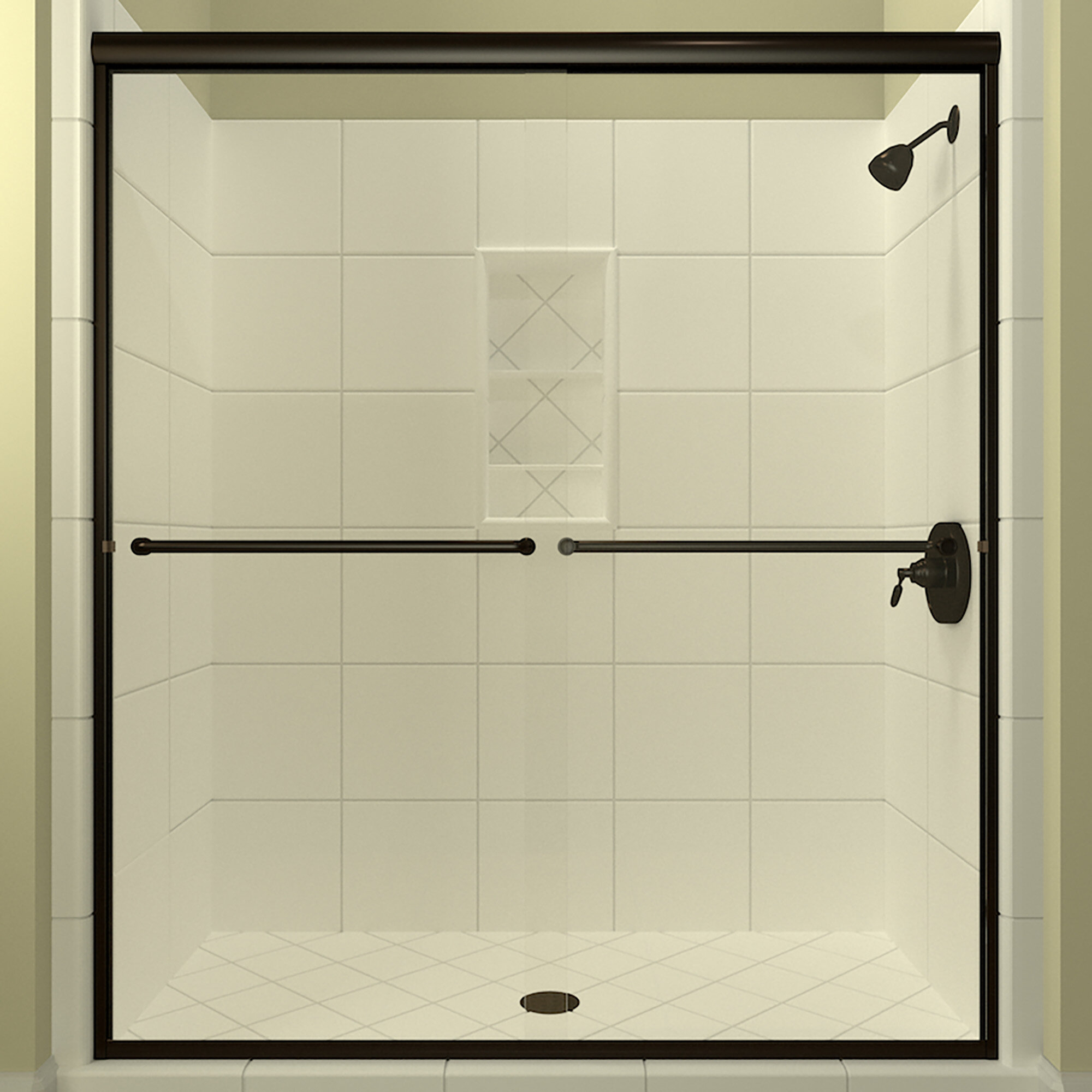 Details About Leser Bypass Semi Frameless Shower Door Anodized Oil Rubbed Bronze 60 38
