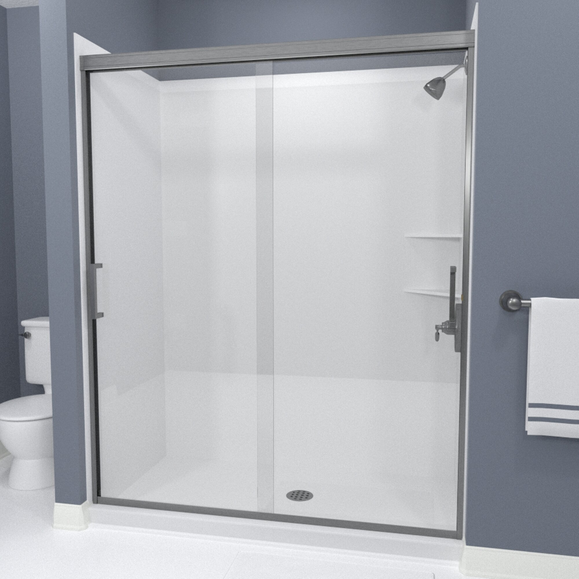 Details About Tombstone 48 X 70 4 Bypass Semi Frameless Shower Door Brushed Nickel