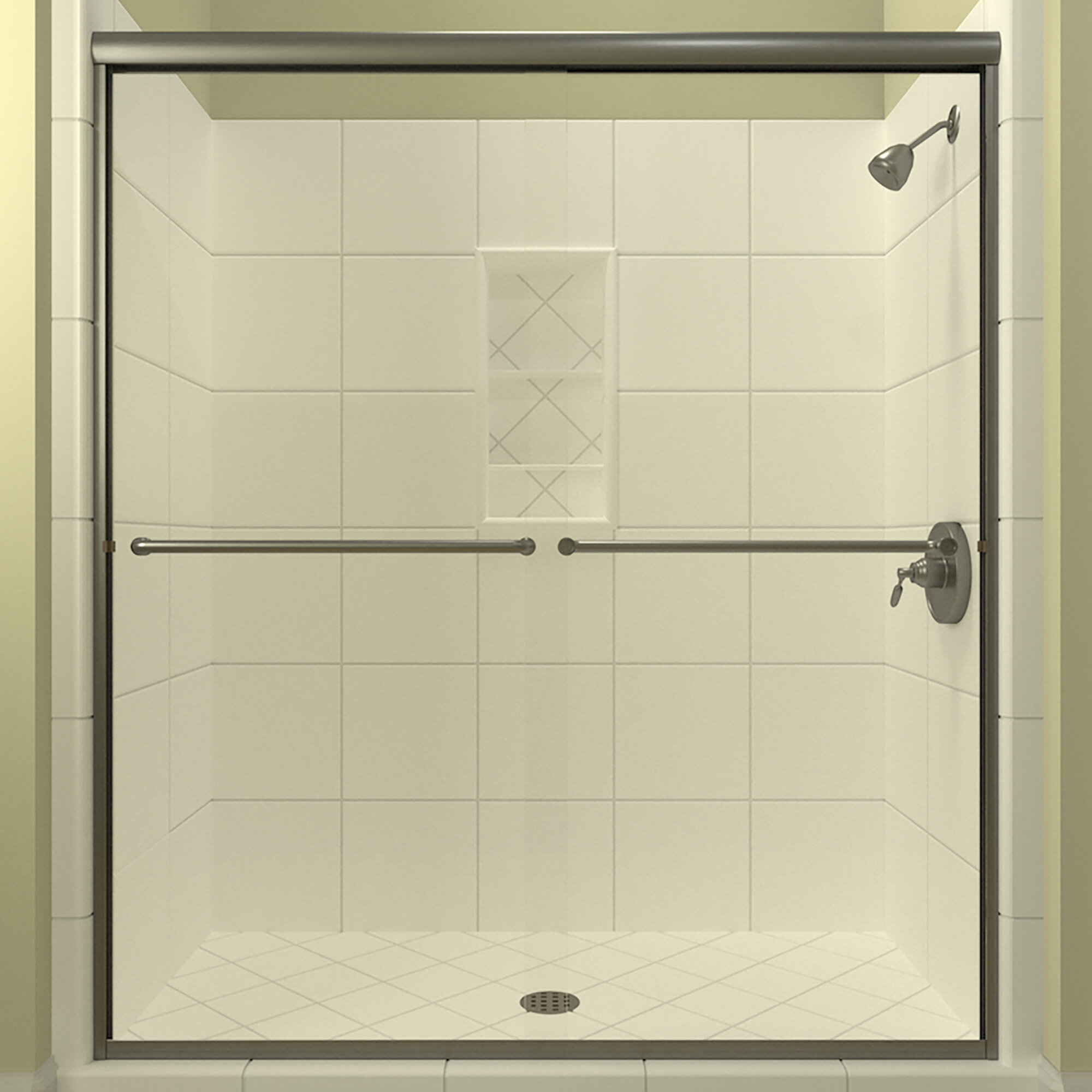 Details About Ese 60 X 76 38 Bypass Semi Frameless Shower Door Brushed Nickel 0 25
