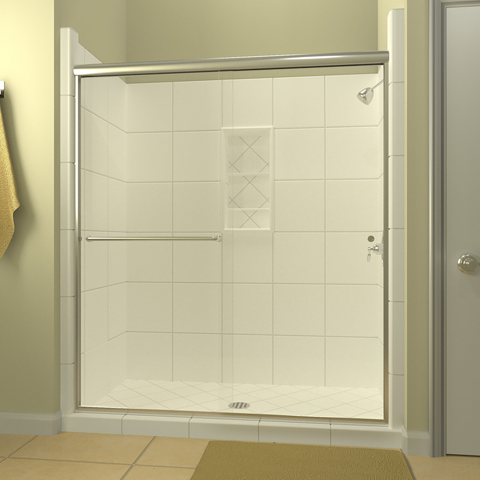 Details About Ese 60 X 76 38 Bypass Semi Frameless Shower Door Left Opening Polished Chrome