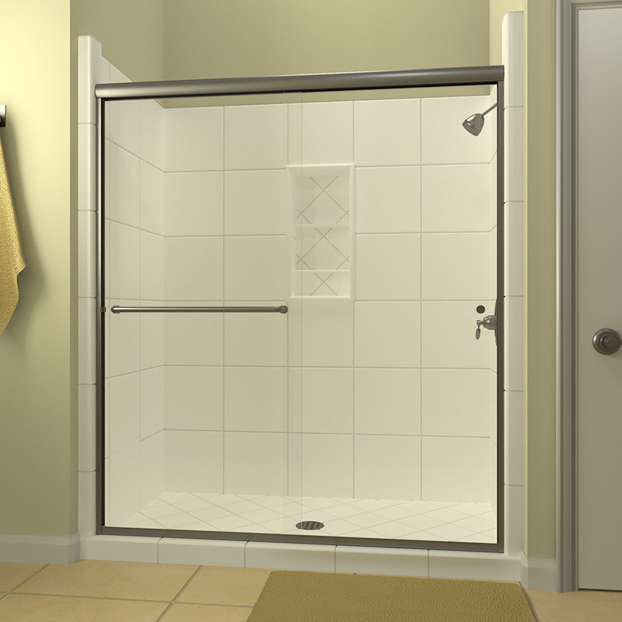 Details About Ese 66 X 70 38 Bypass Semi Frameless Shower Door Brushed Nickel Left Opening