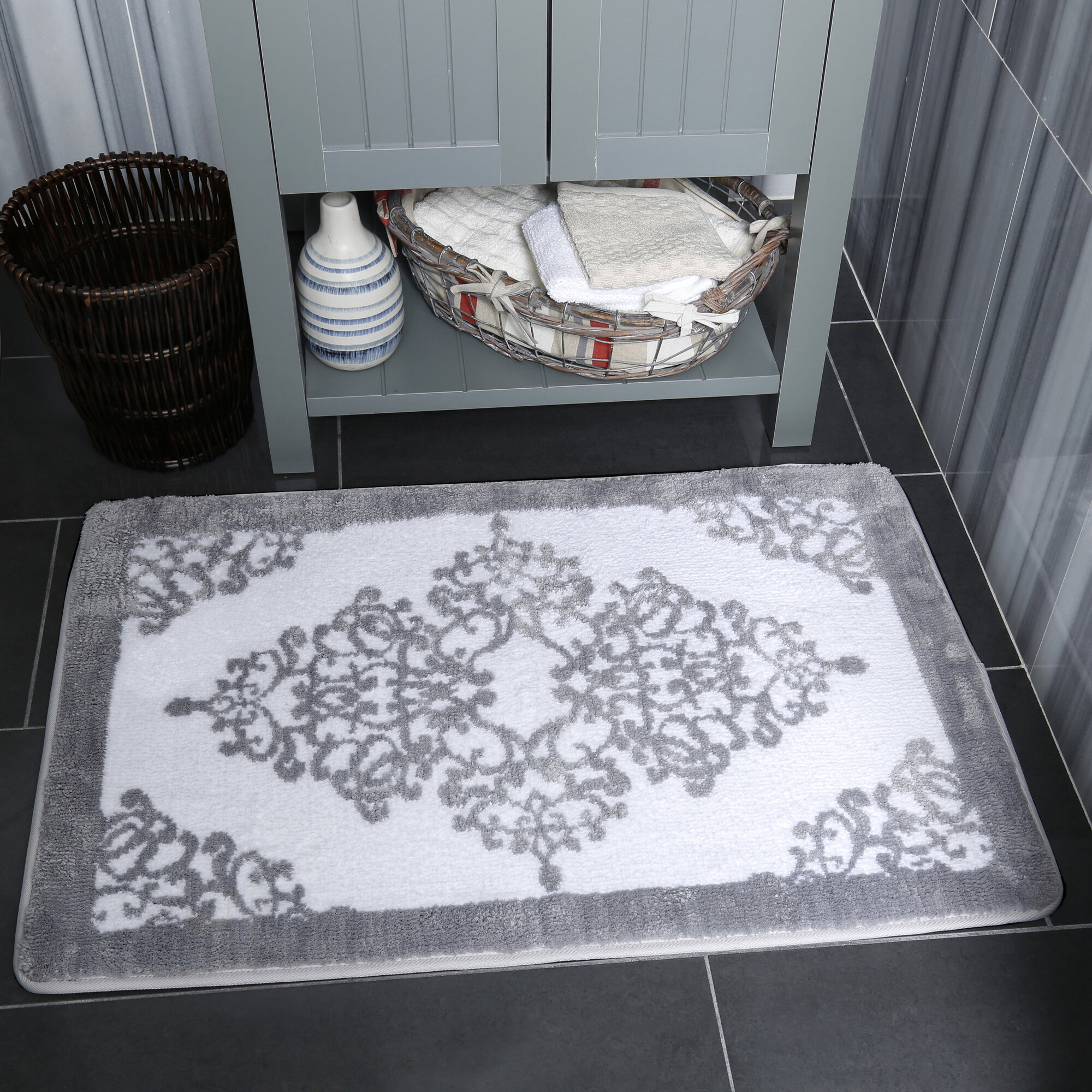 Details About Shabby Chic Duet Lacey Blush Reversible Bath Rug