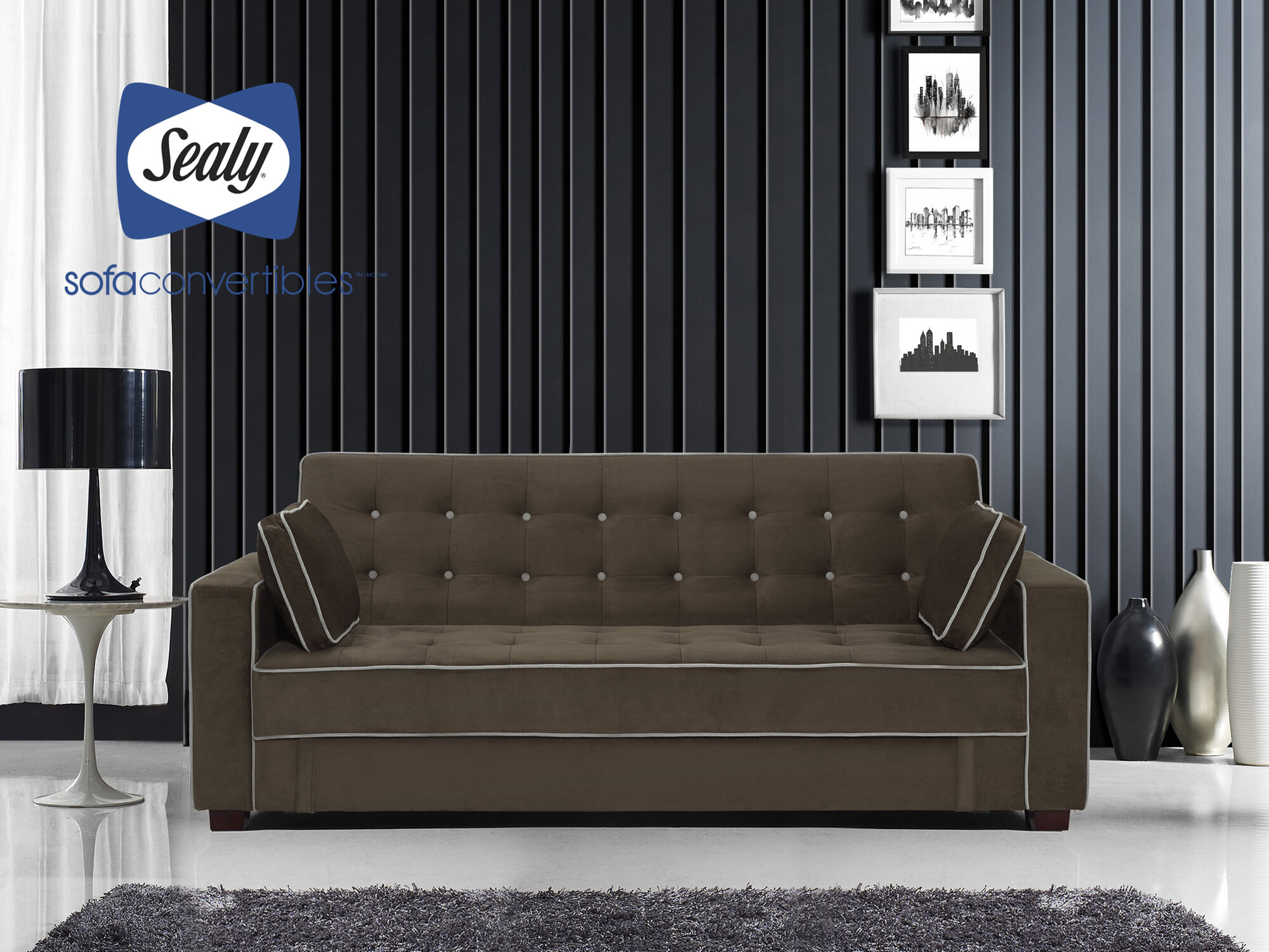 - Sealy Belize Sofa Convertible With Storage By Sealy Heavenly Dark