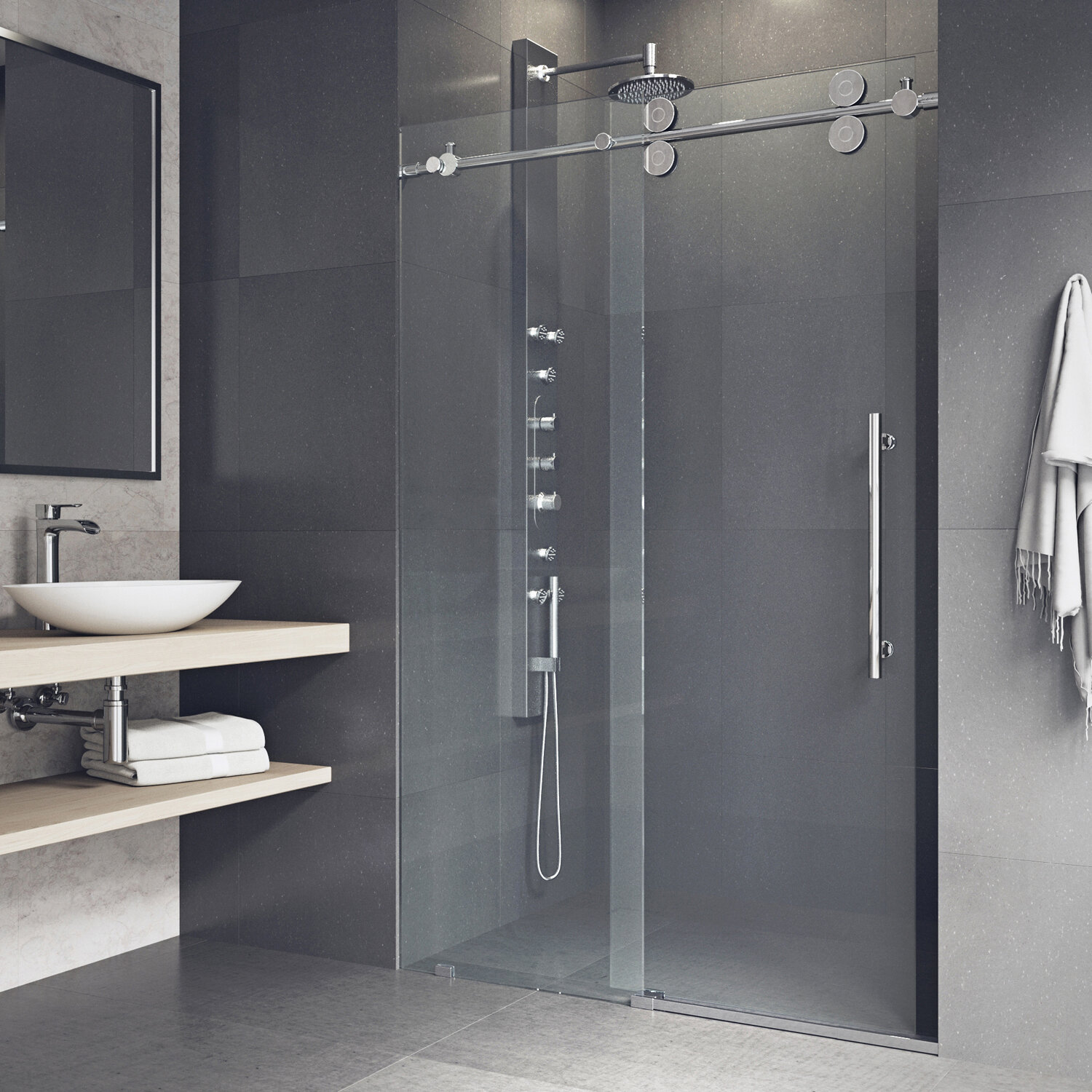 Details About Elan 60 X74 Single Sliding Frameless Shower Door W Rollerdisk Technology Chro