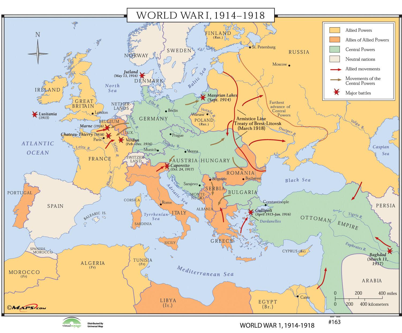Universal Map World History Wall Maps World War I 1914