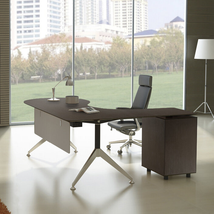 Haaken Furniture Manhattan Collection Teardrop L-Shape Computer Desk ...