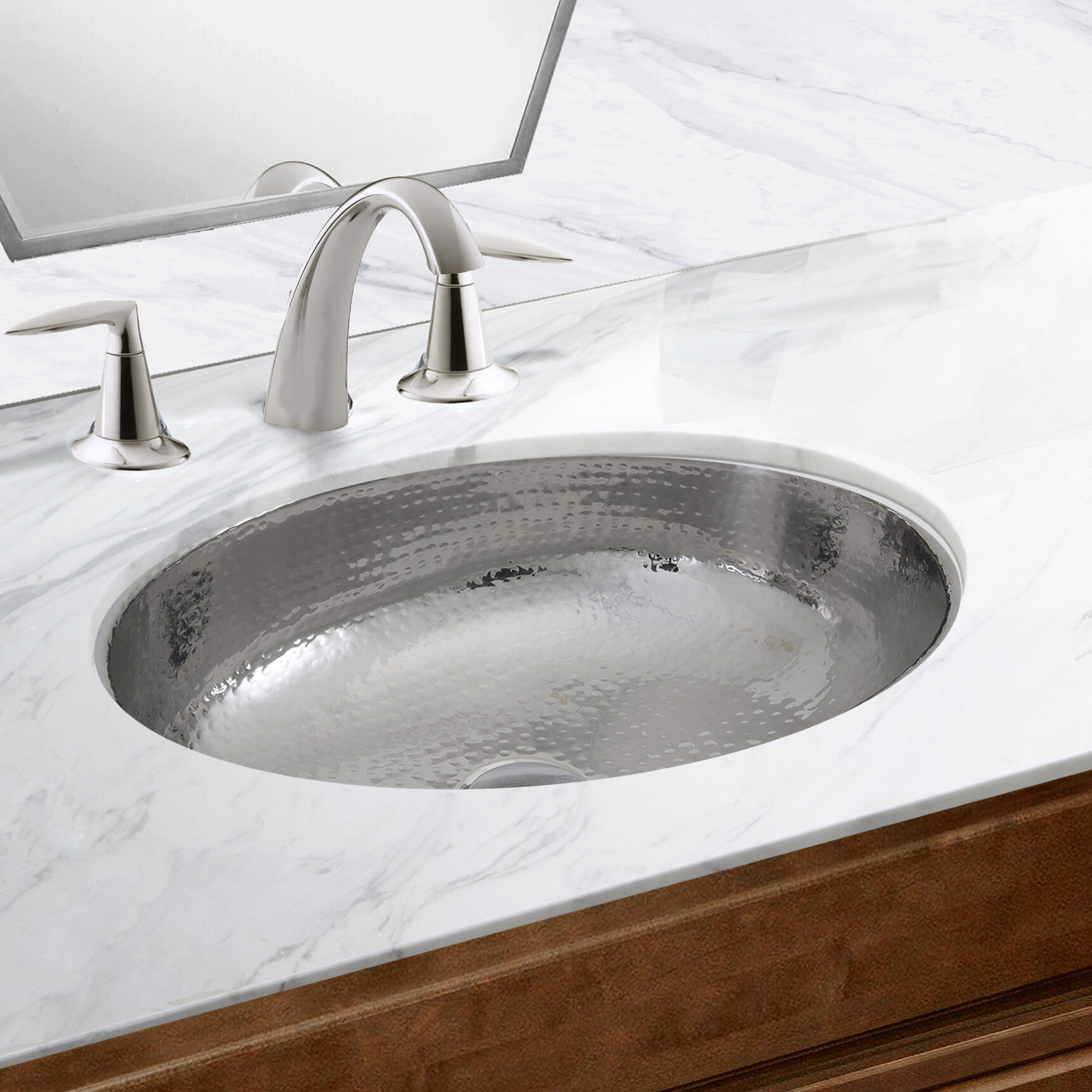 Details About Hand Hammered Stainless Steel Oval Undermount Bathroom Sink With Overflow