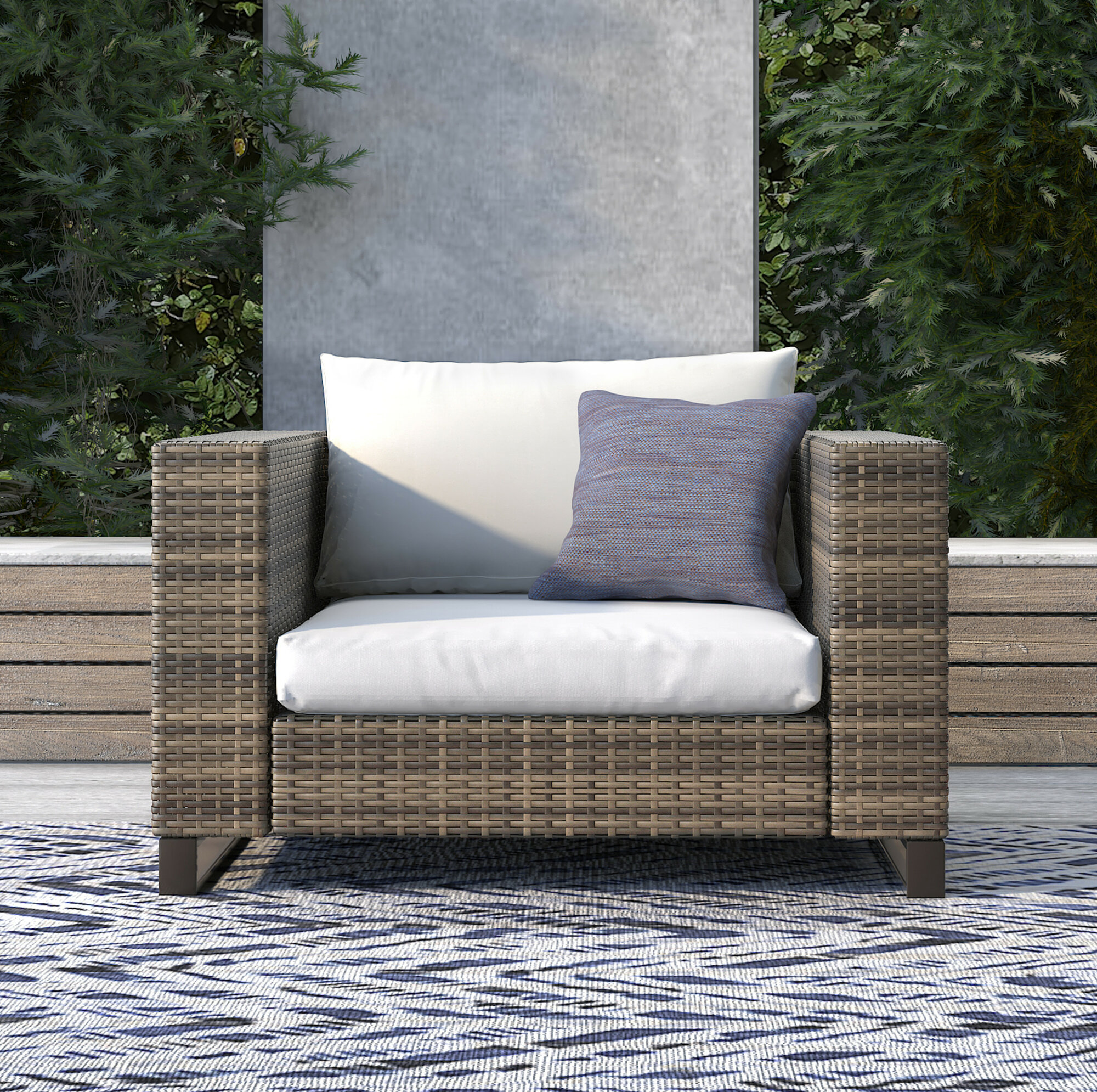 Details About Tommy Hilfiger Oceanside Outdoor Wicker Patio Chair With Cushions