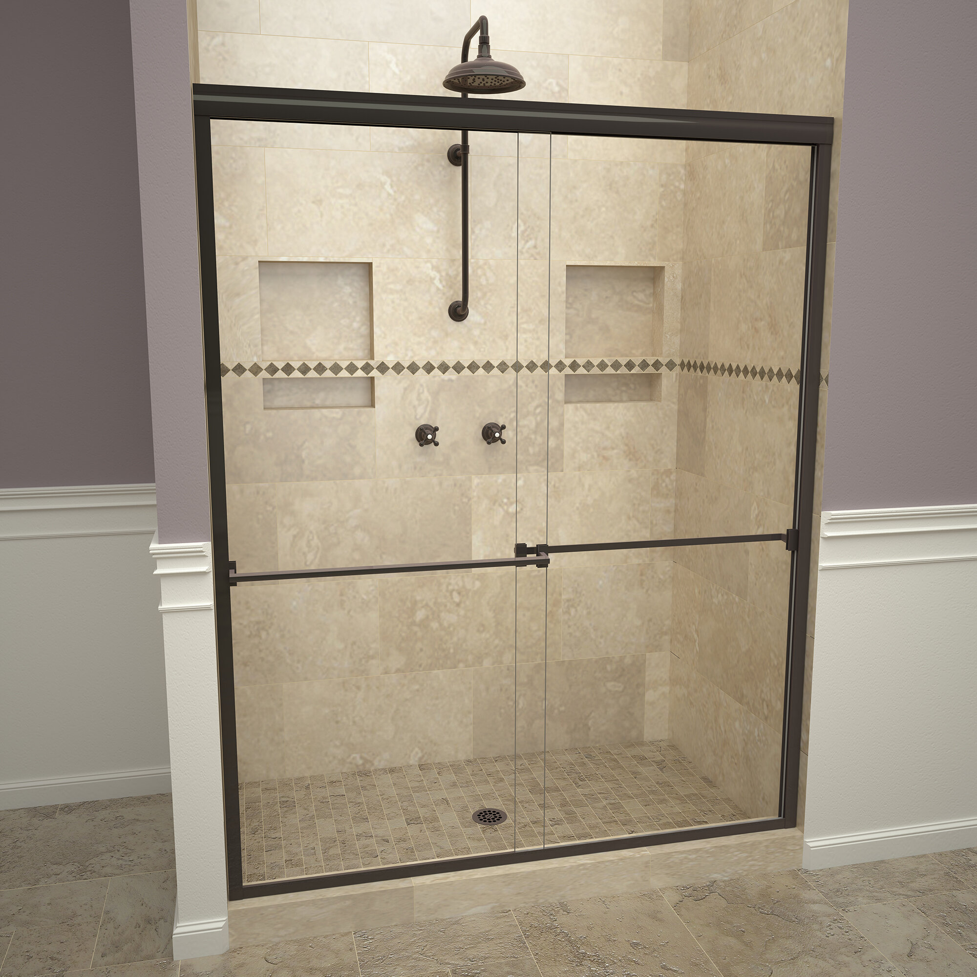 Details About 1000 Series 60 X70 Double Sliding Semi Frameless Shower Door Oil Rubbed Bronze