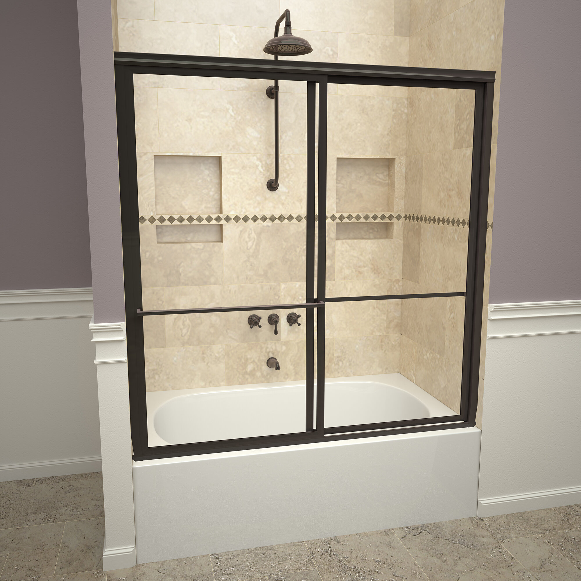 Details About 1100 Series 59 X 58 5 Double Sliding Framed Tub Door Oil Rubbed Bronze Pattern