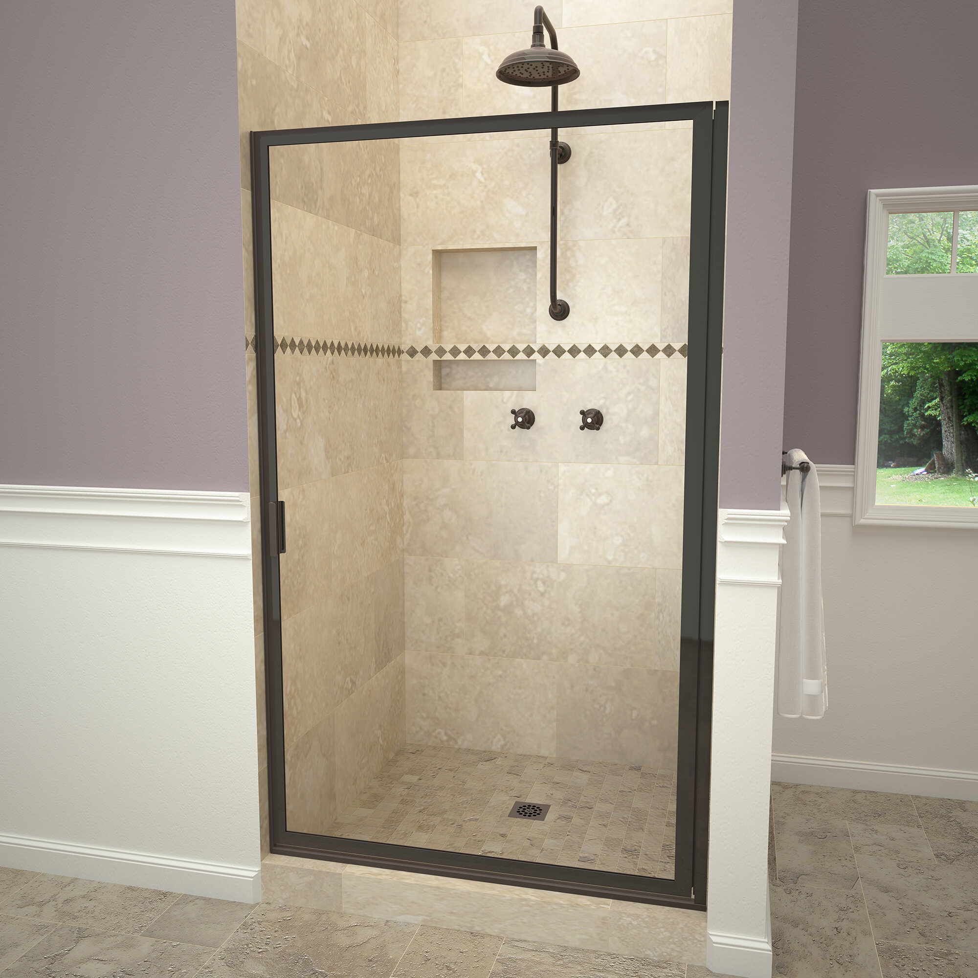 Details About 1100 Series Swing 34 75 X67 Pivot Framed Shower Door Oil Rubbed Bronze Pattern