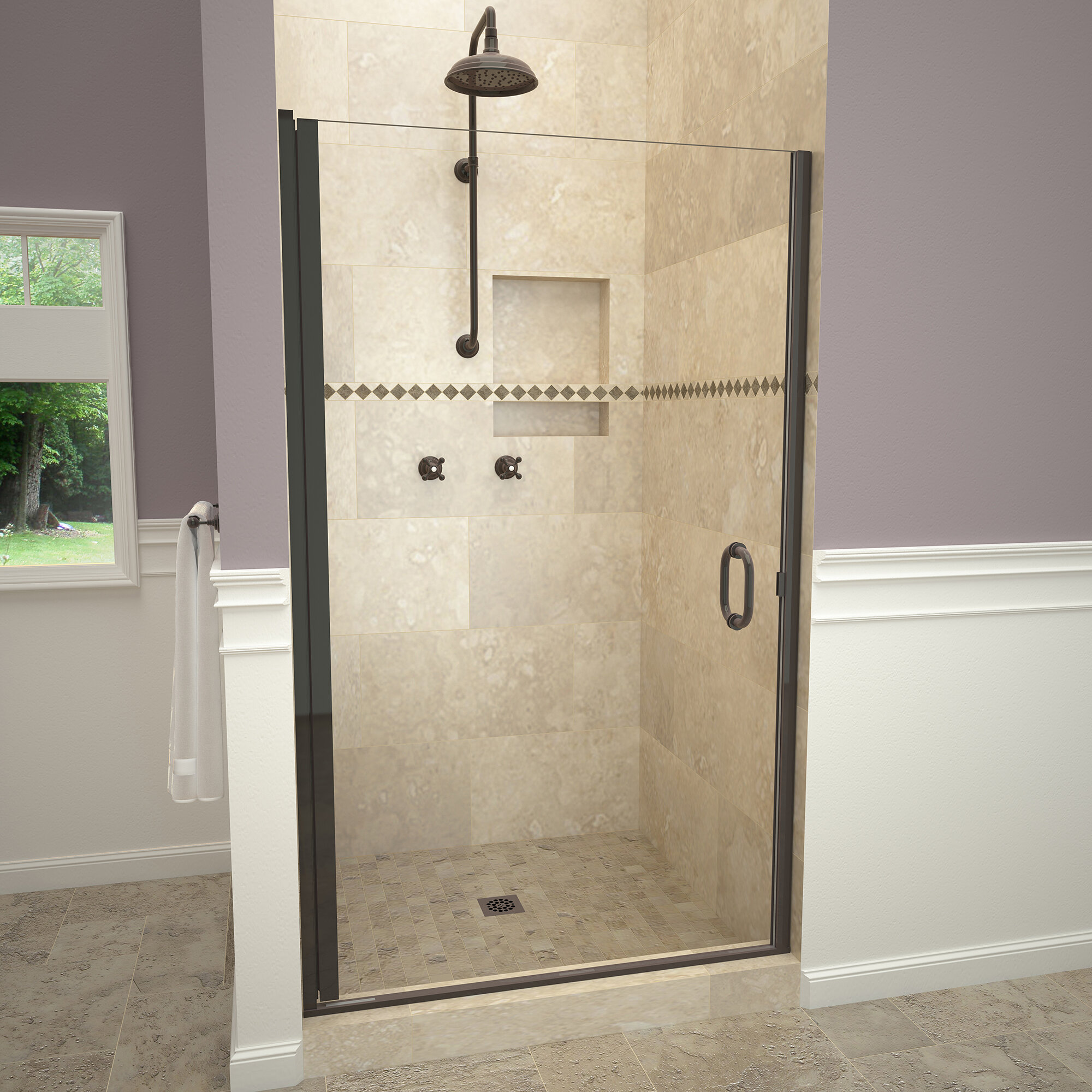 Details About 1200 Series Swing 33 X 72 Pivot Semi Frameless Shower Door Oil Rubbed Bronze