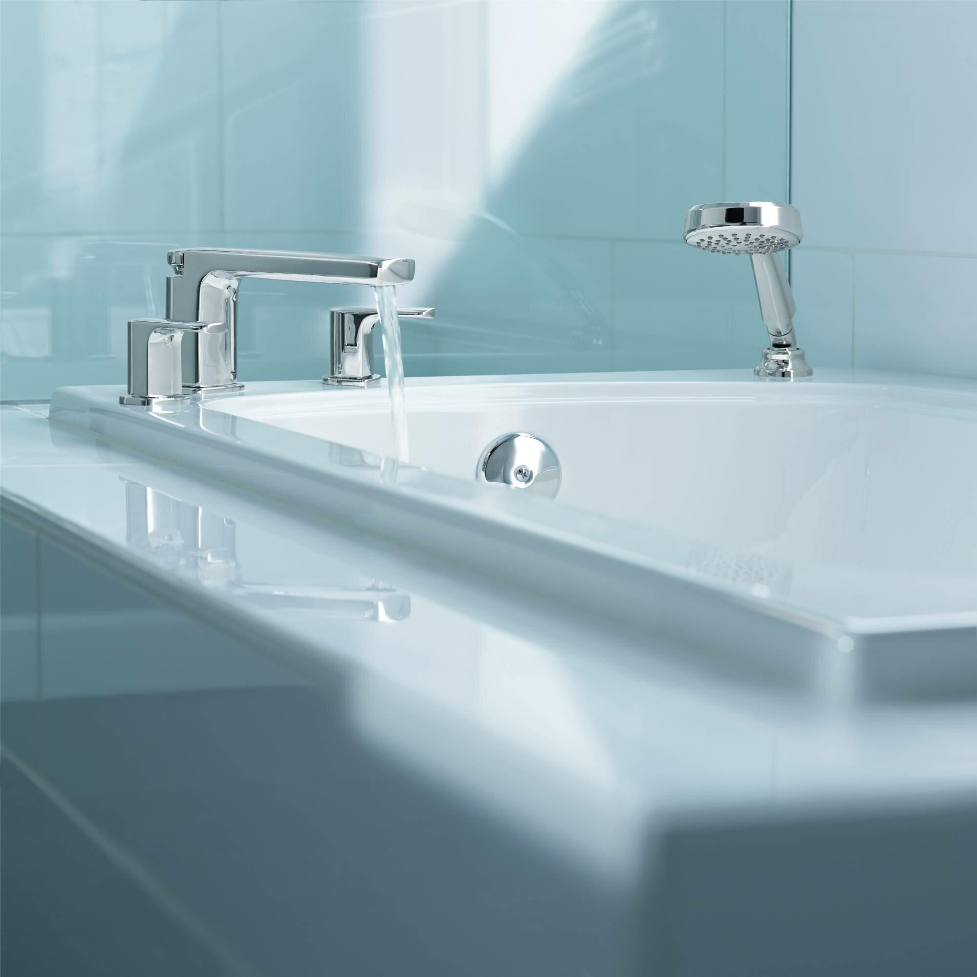 Details About Moen Rizon Double Handle Deck Mount Tub Faucet Trim With Hand Shower