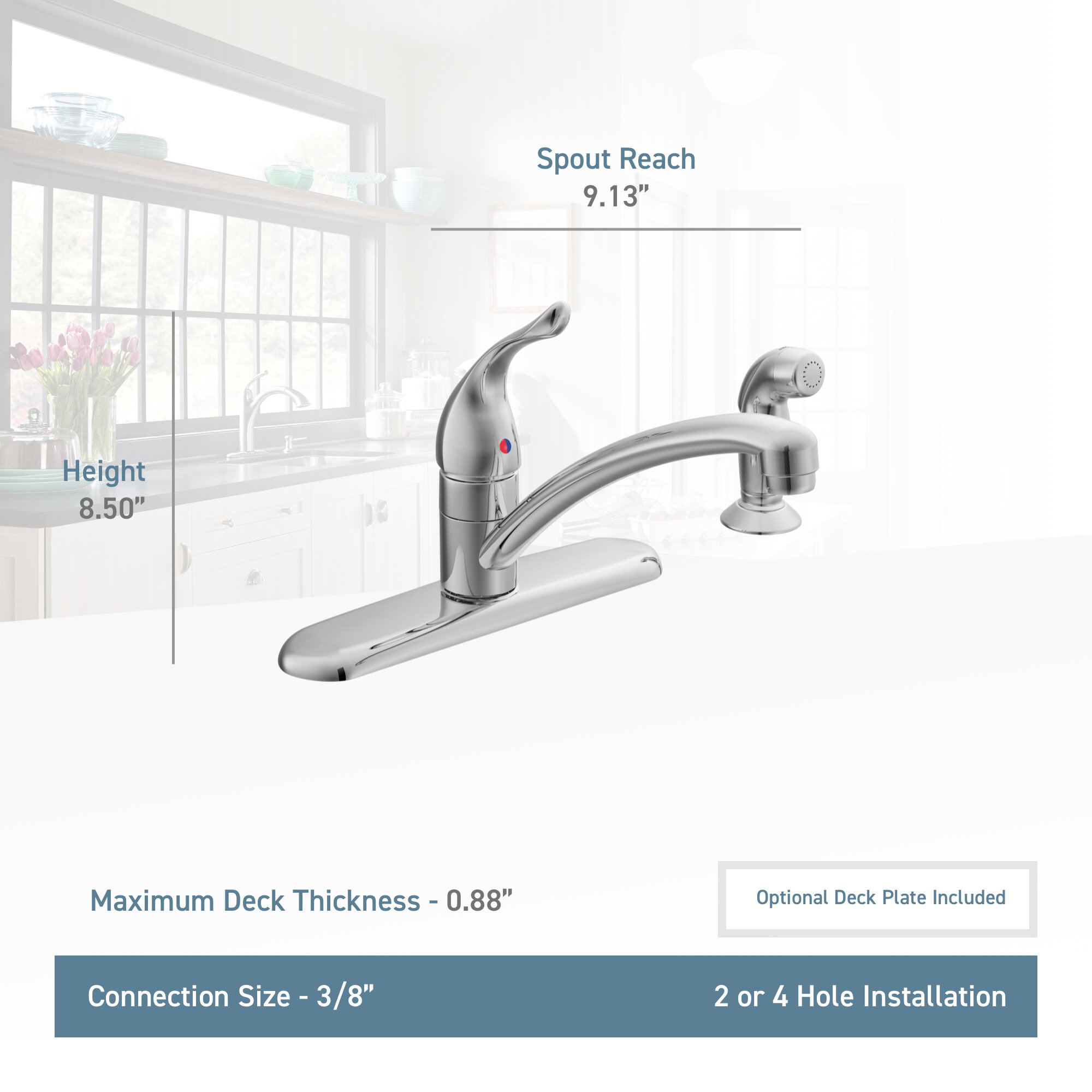 Moen Chateau Single Handle Kitchen Faucet With Side