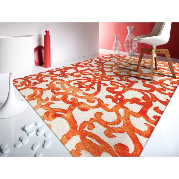 Koreana White Amp Orange Floral Wool Hand Tufted Area Rug