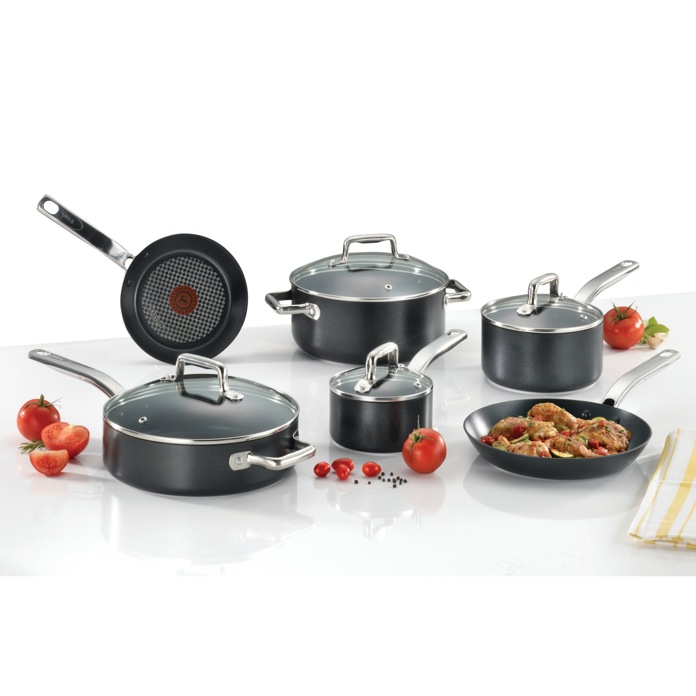 Non Stick Kitchen Appliances T Fal Prograde 10 Piece Non Stick Cookware Set Reviews Wayfair