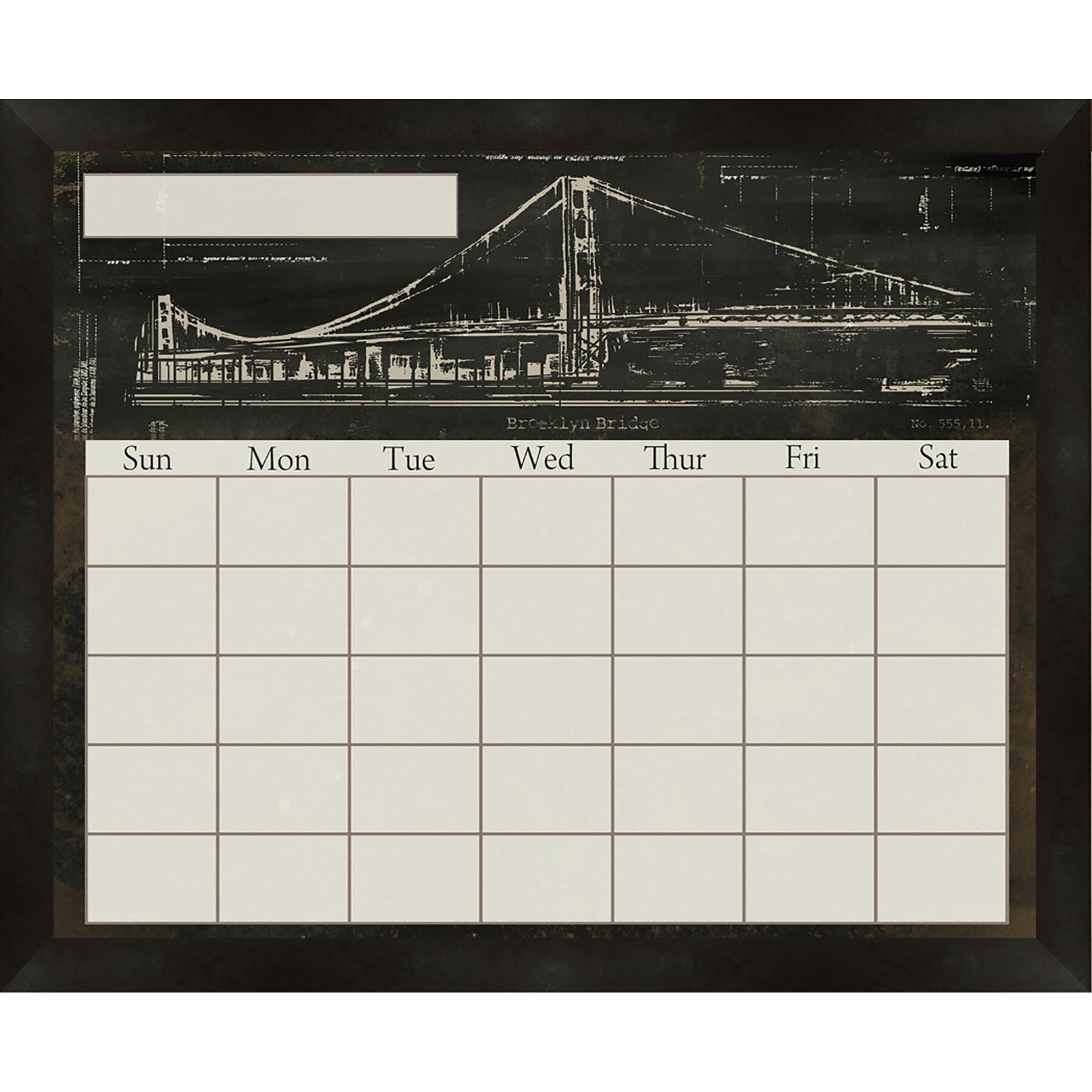 ptm images brooklyn bridge framed calendarplanner glass dry erase board