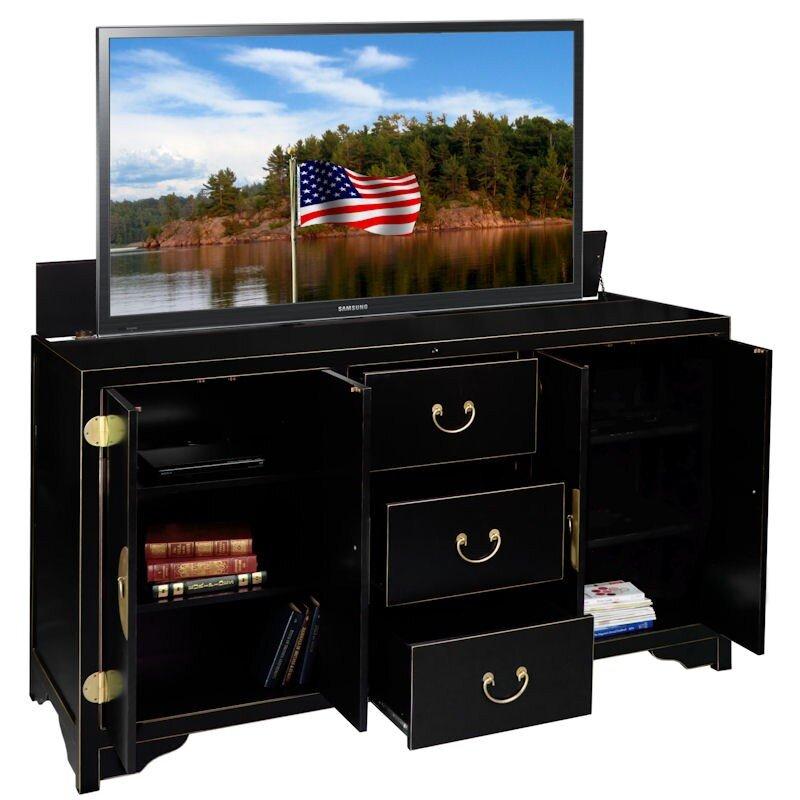 inc dynasty tv stand wayfairca u003e tv lift cabinet canada