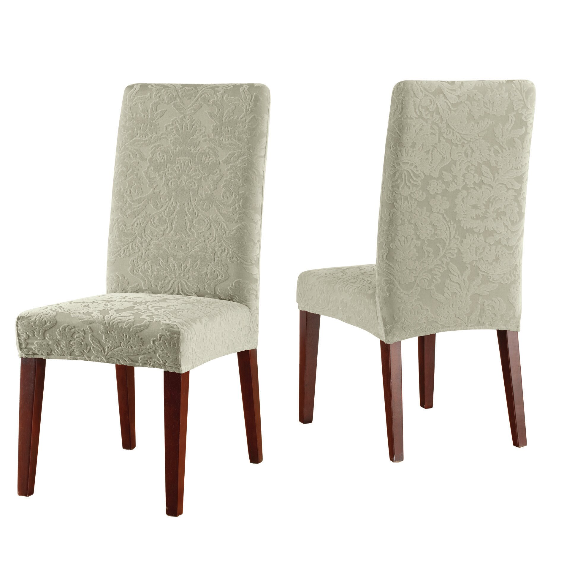 Sure Fit Stretch Jacquard Damask Dining Chair Slipcover Reviews – Damask Dining Room Chairs