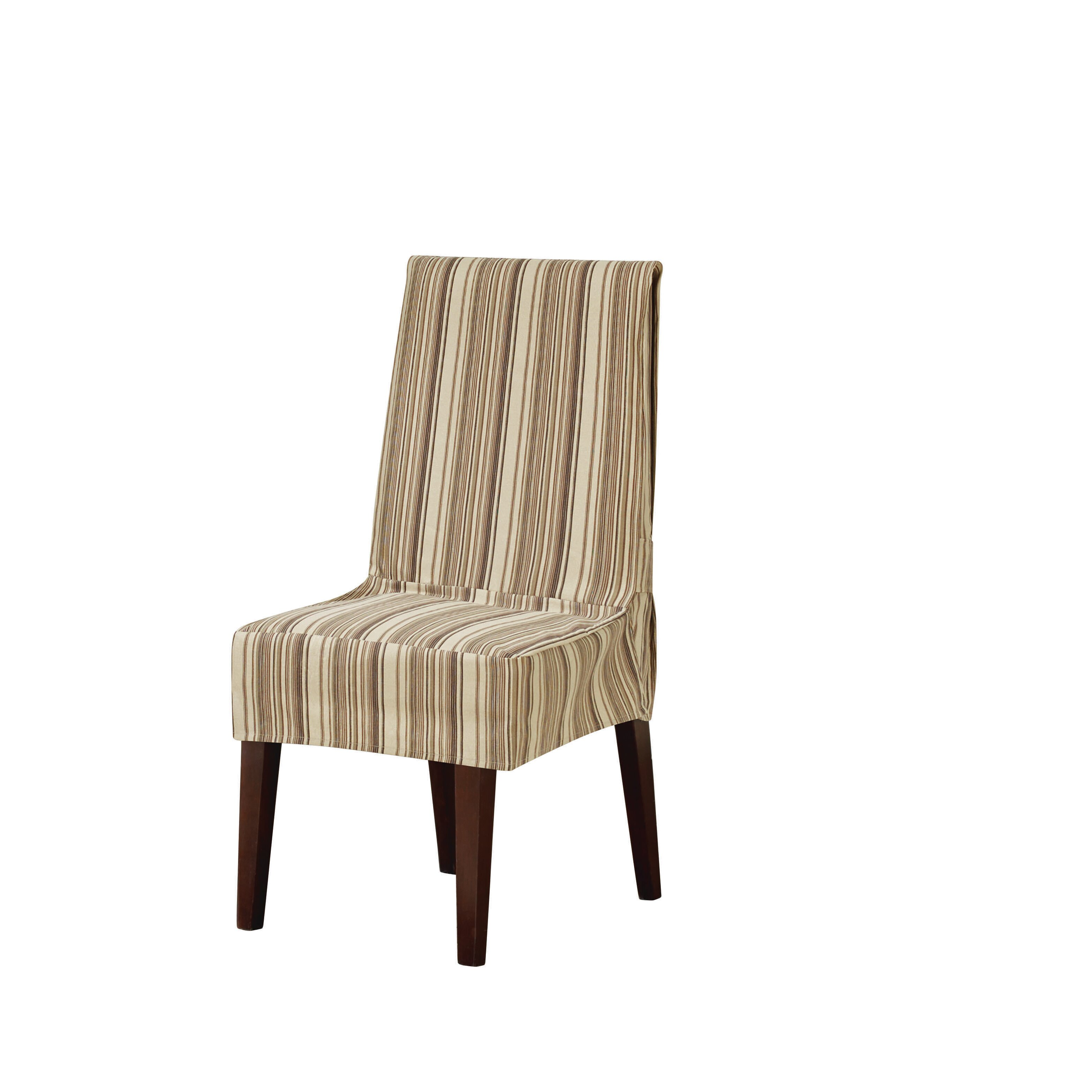 Rowico Lulworth Beige Loose Striped Linen Cover Dining