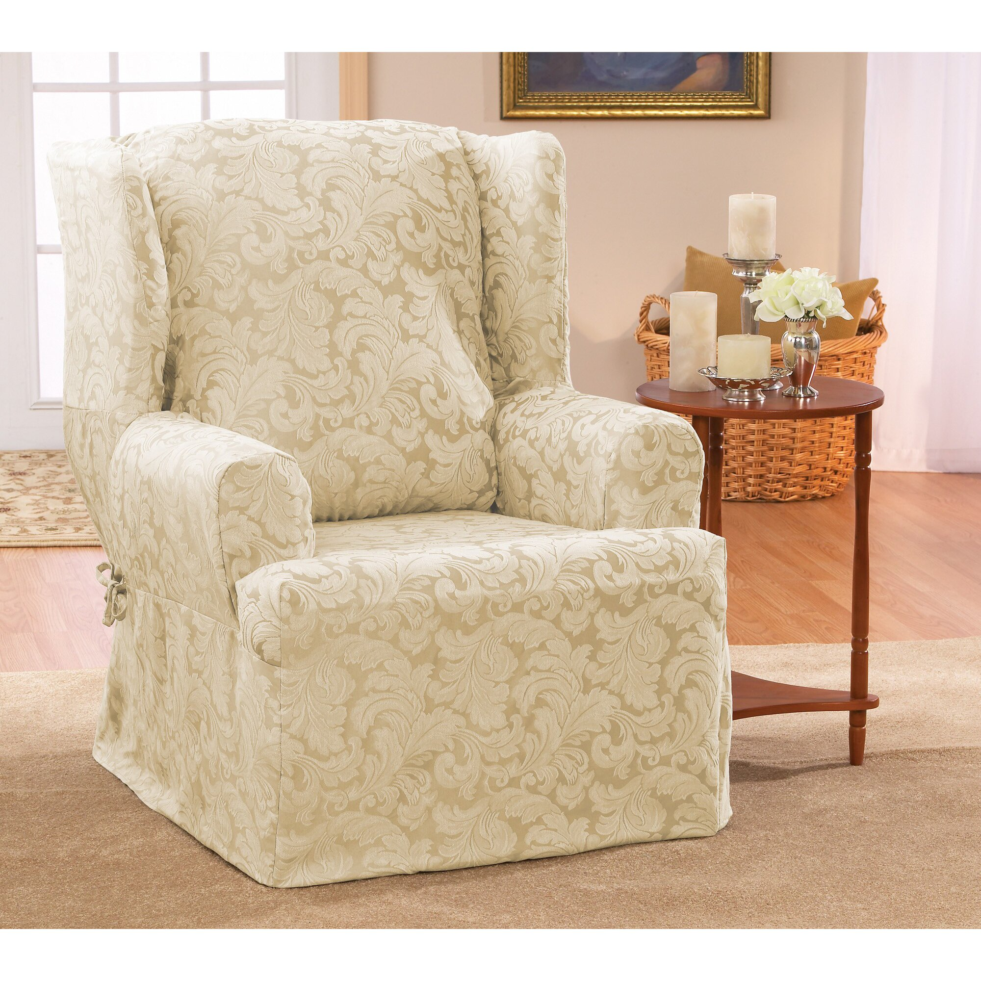 sure fit scroll classic wing chair t cushion skirted slipcover - Slipcover For Wingback Chair