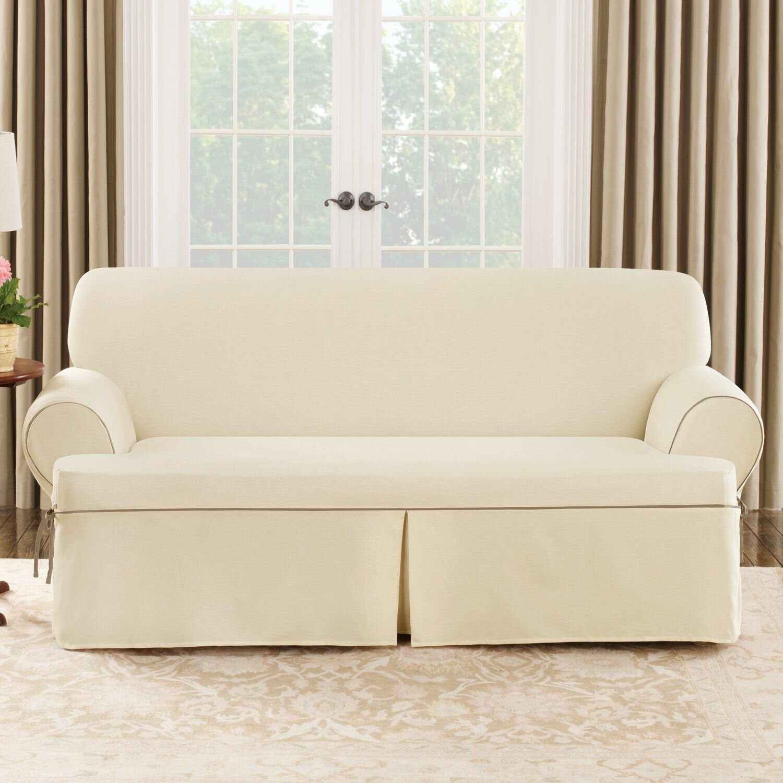 Sure Fit Cotton Duck Sofa T Cushion Slipcover Amp Reviews