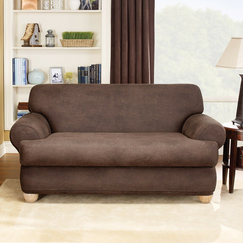 Two Piece Living Room Set Sure Fit Stretch Leather Two Piece Loveseat T Cushion Slipcover